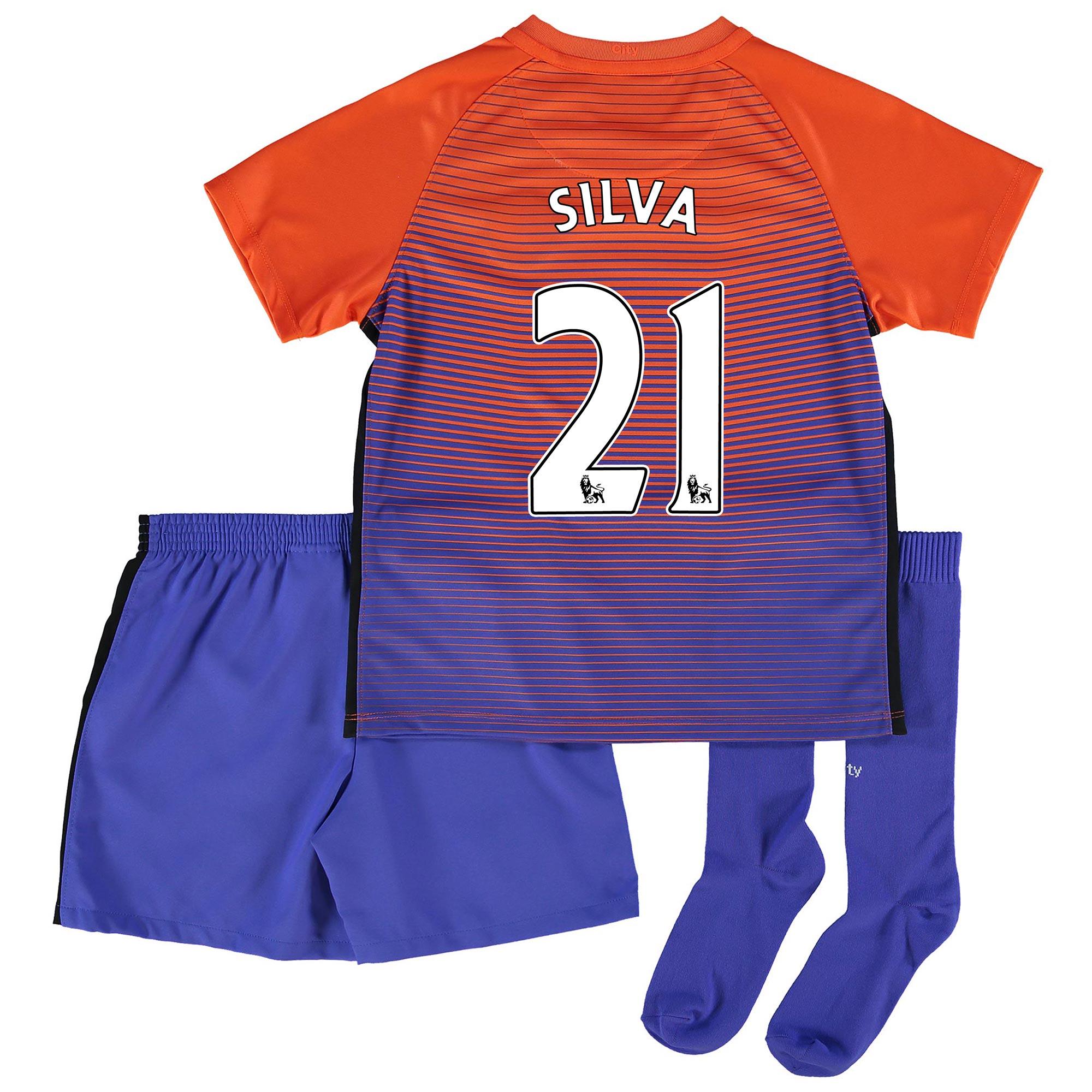 Manchester City Third Stadium Kit 2016-17 - Little Kids with Silva 21
