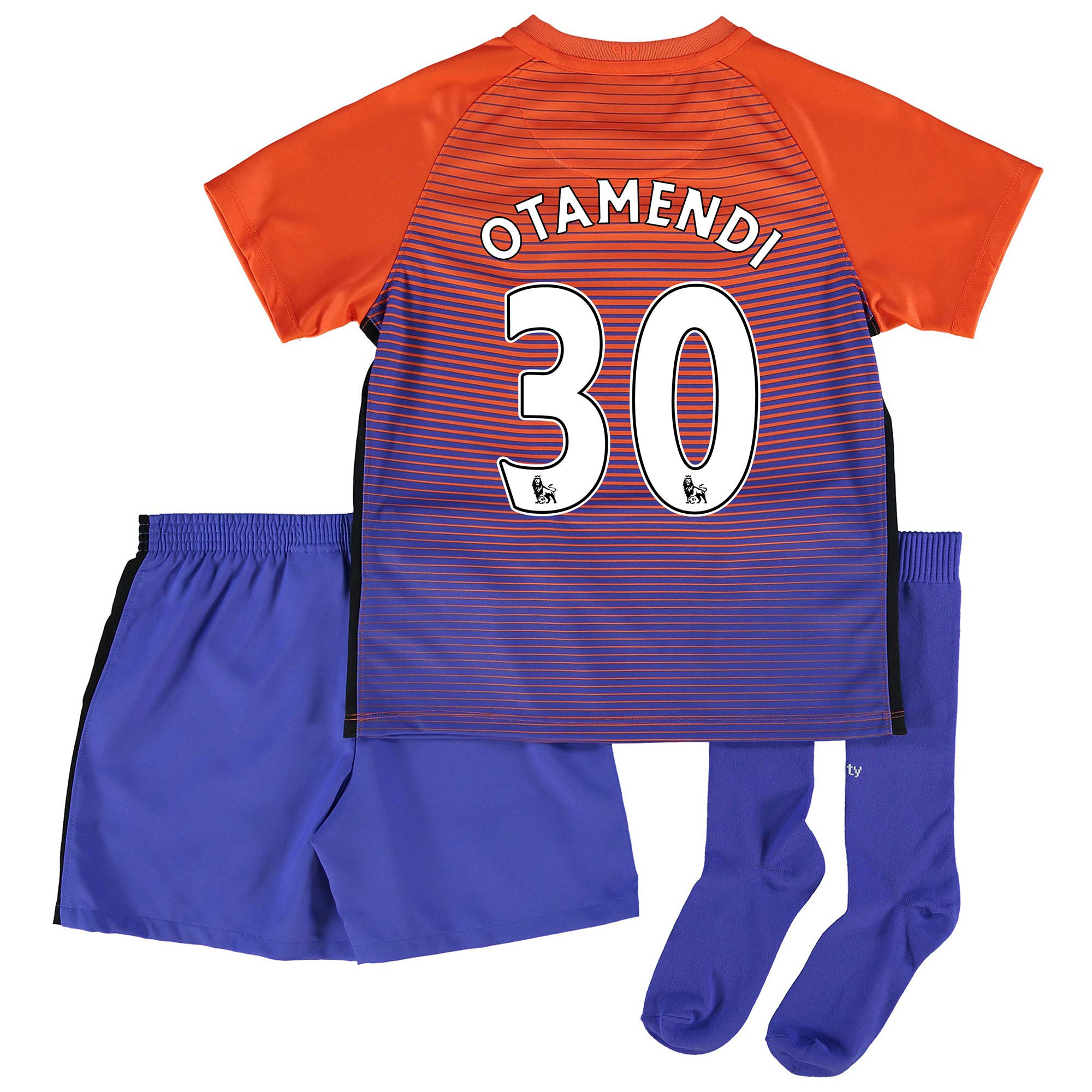 Manchester City Third Stadium Kit 2016-17 - Little Kids with Otamendi