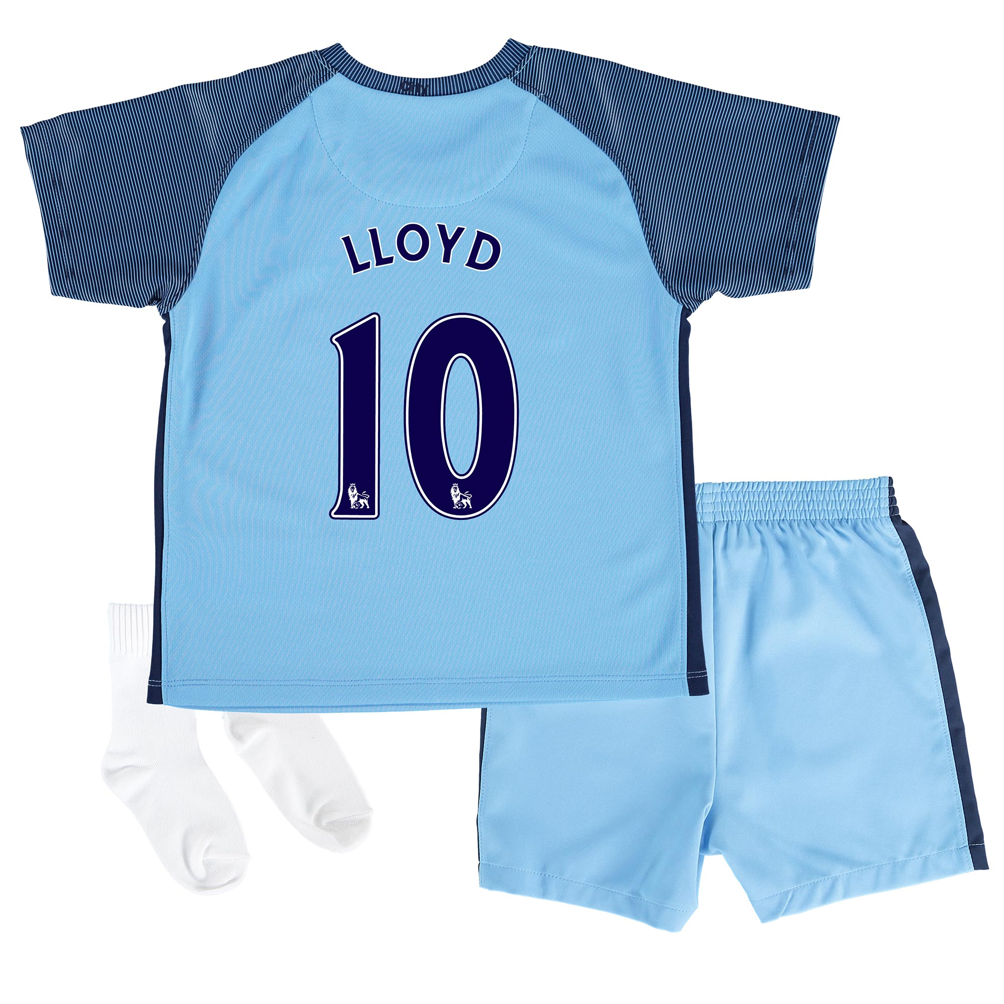 Manchester City Home Stadium Kit 2016-17 - Infants with Lloyd 10 print