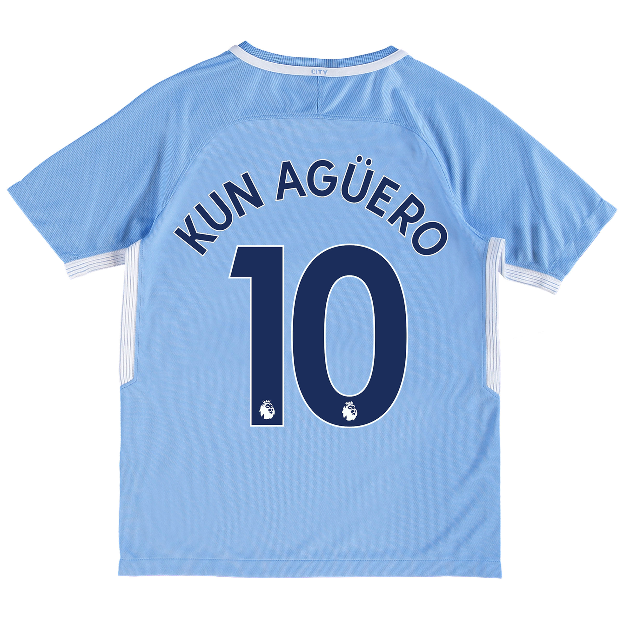 Manchester City Home Stadium Shirt 2017-18 - Kids with Kun Agüero  10