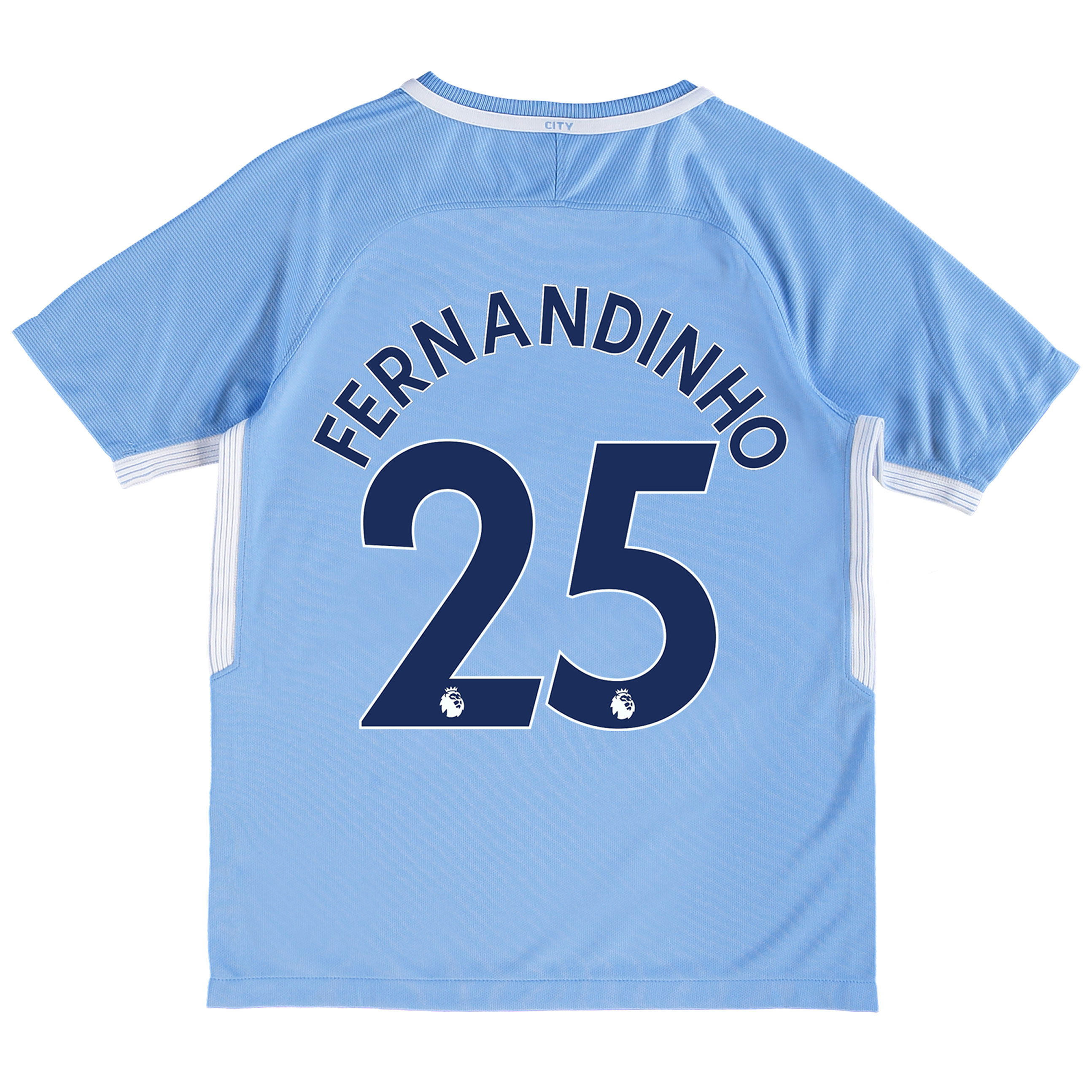 Manchester City Home Stadium Shirt 2017-18 - Kids with Fernandinho 25