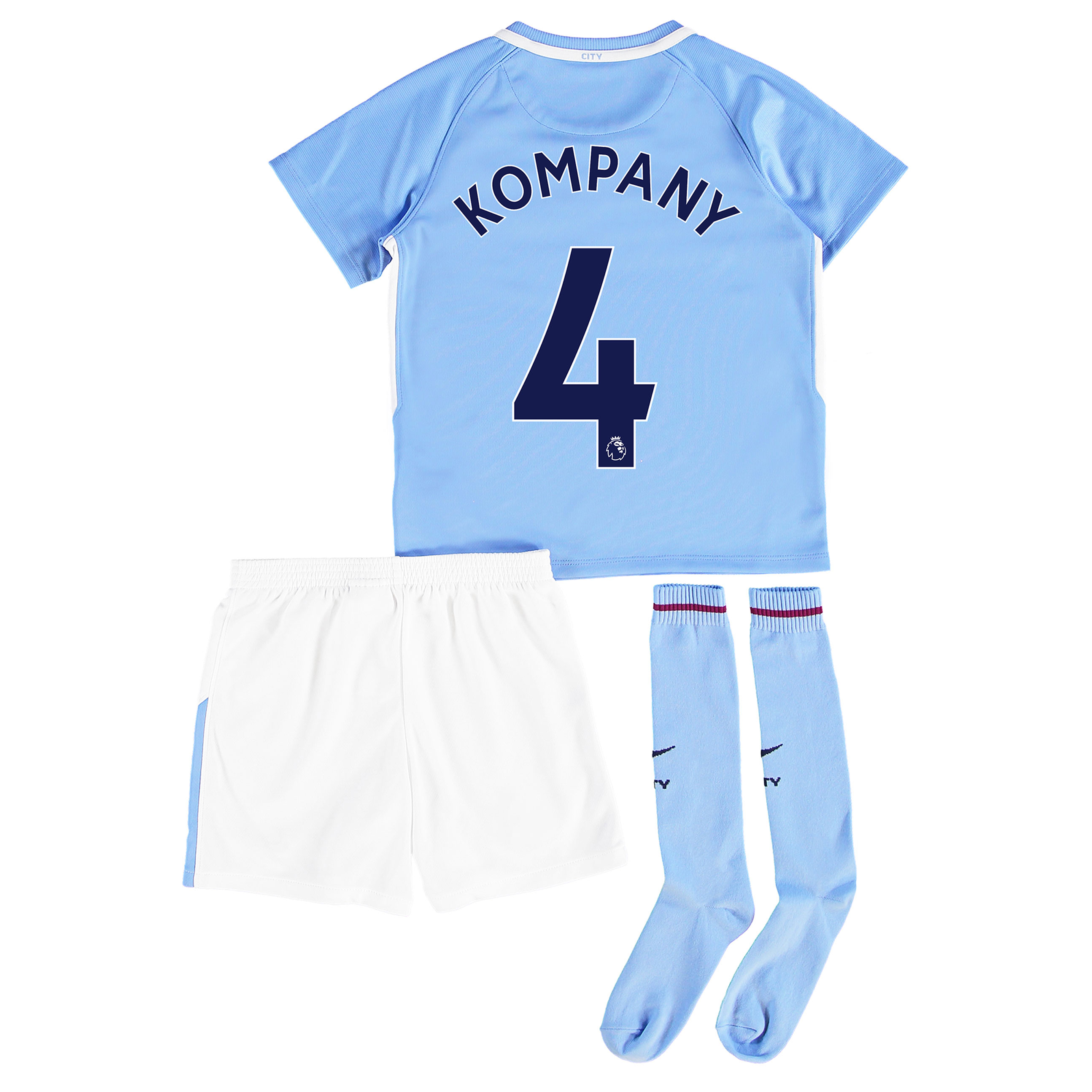 Manchester City Home Stadium Kit 2017-18 - Little Kids with Kompany 4