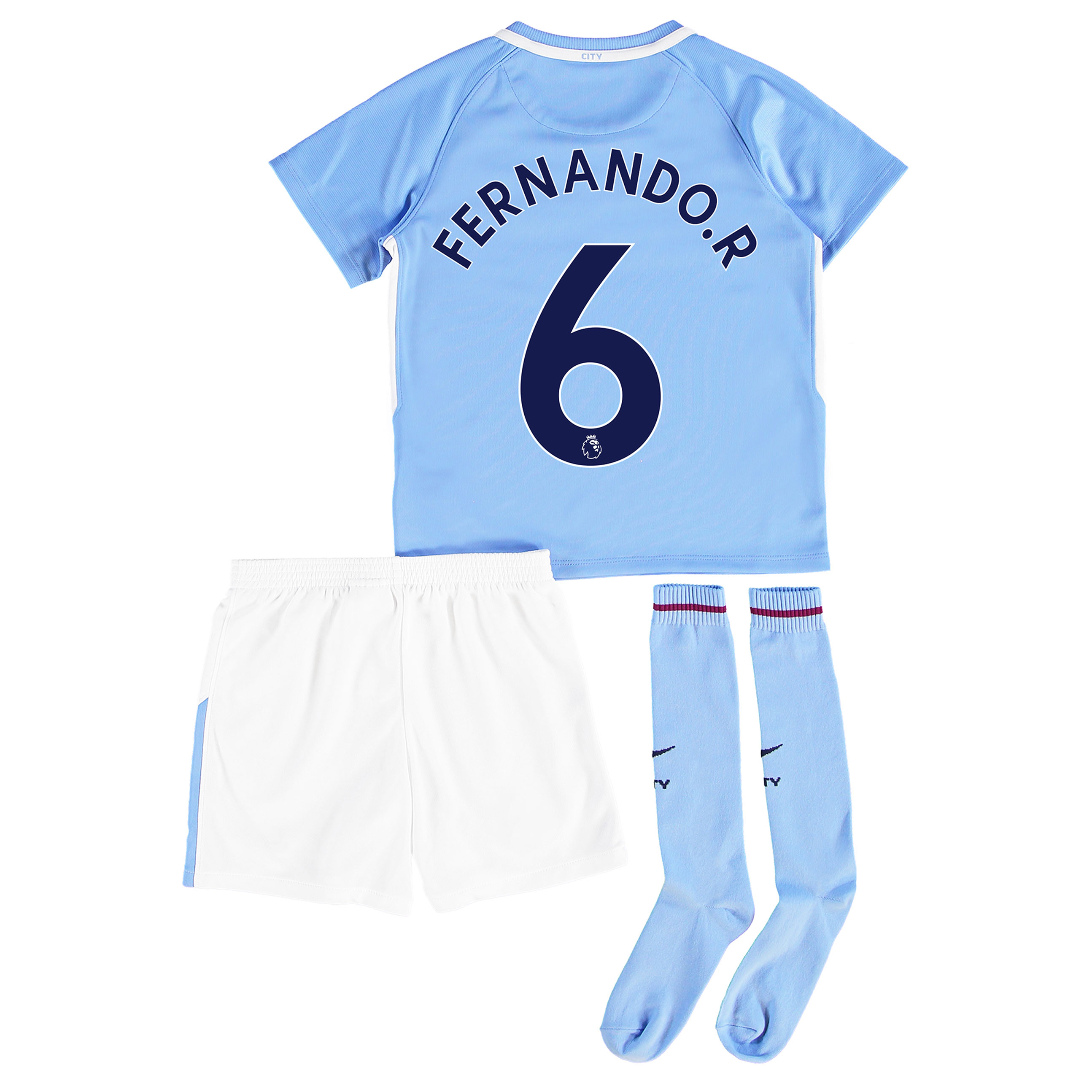 Manchester City Home Stadium Kit 2017-18 - Little Kids with Fernando.