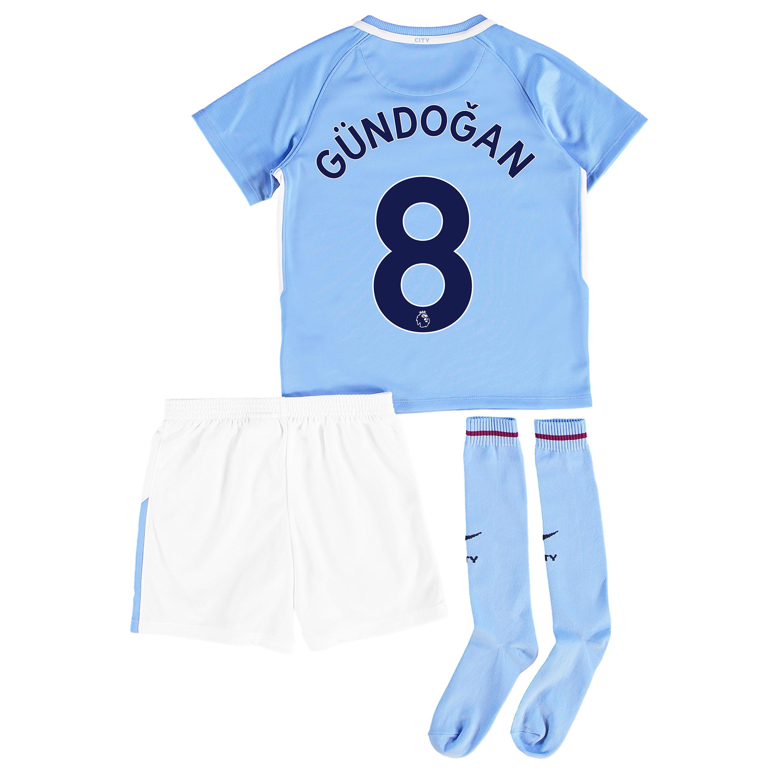 Manchester City Home Stadium Kit 2017-18 - Little Kids with G??ndogan 8