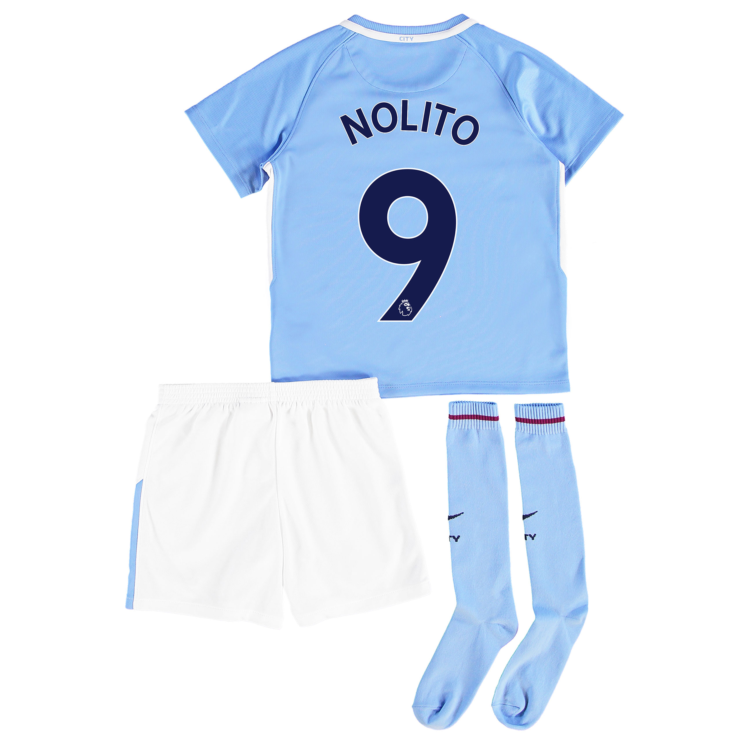 Manchester City Home Stadium Kit 2017-18 - Little Kids with Nolito 9 p
