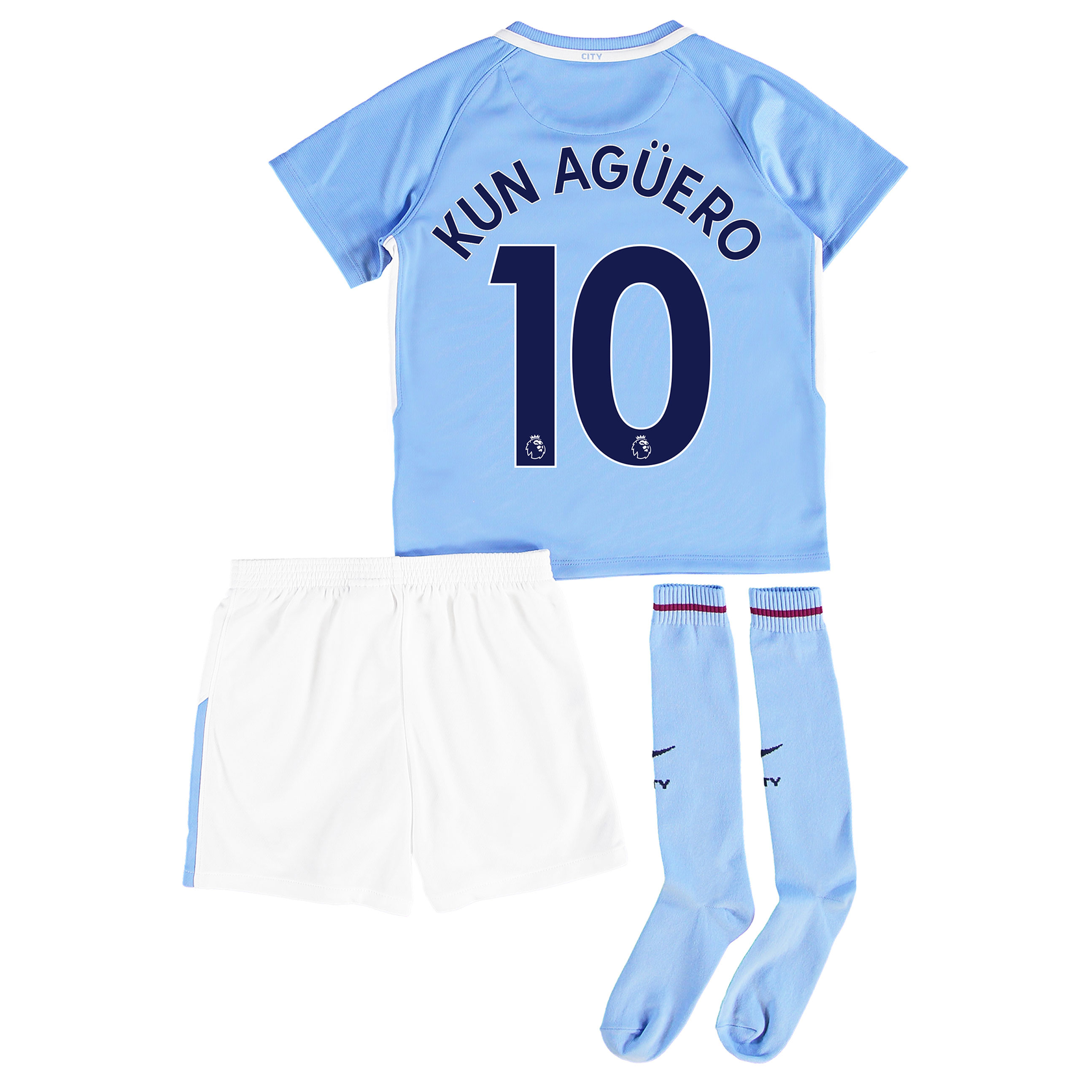 Manchester City Home Stadium Kit 2017-18 - Little Kids with Kun Ag??ero