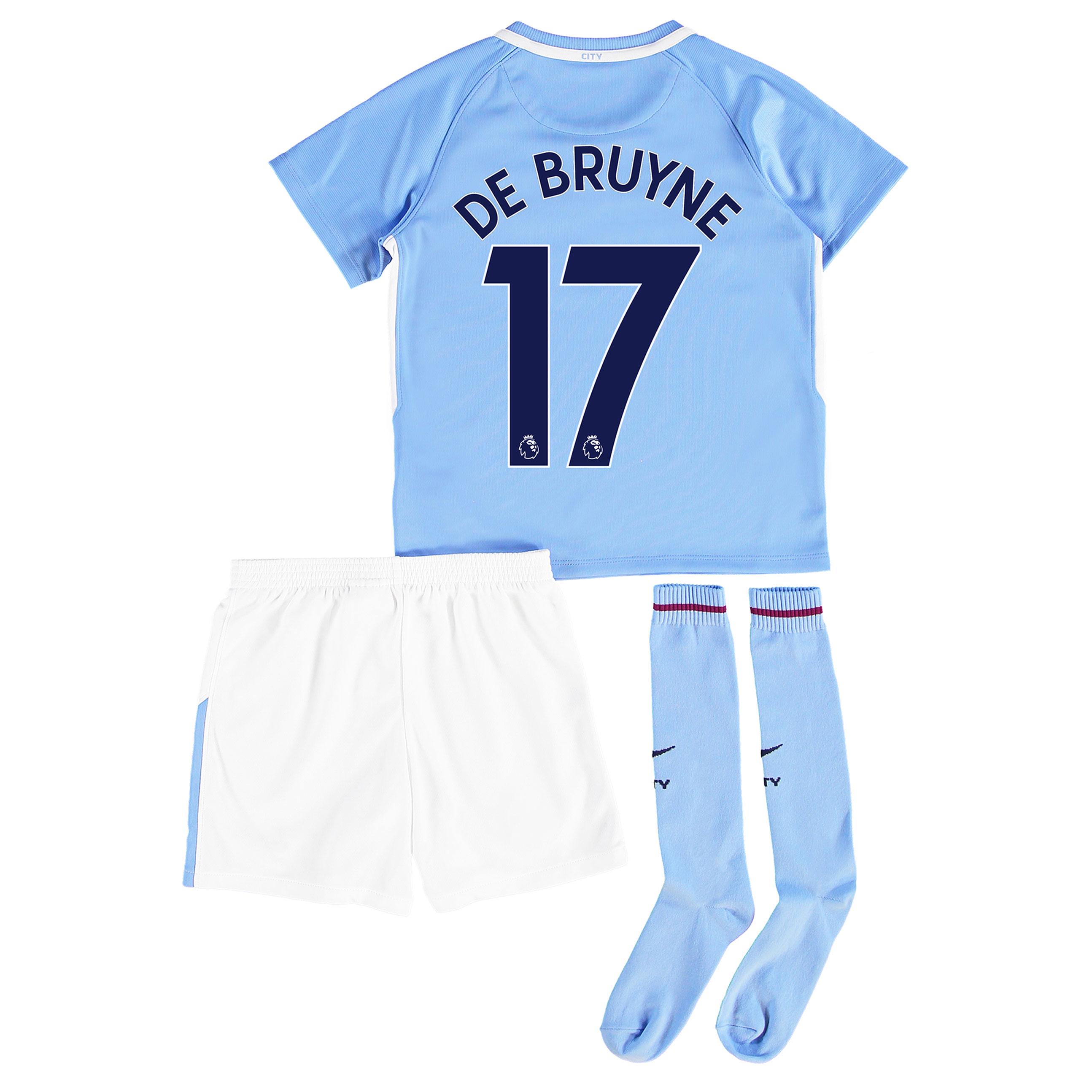 Manchester City Home Stadium Kit 2017-18 - Little Kids with De Bruyne