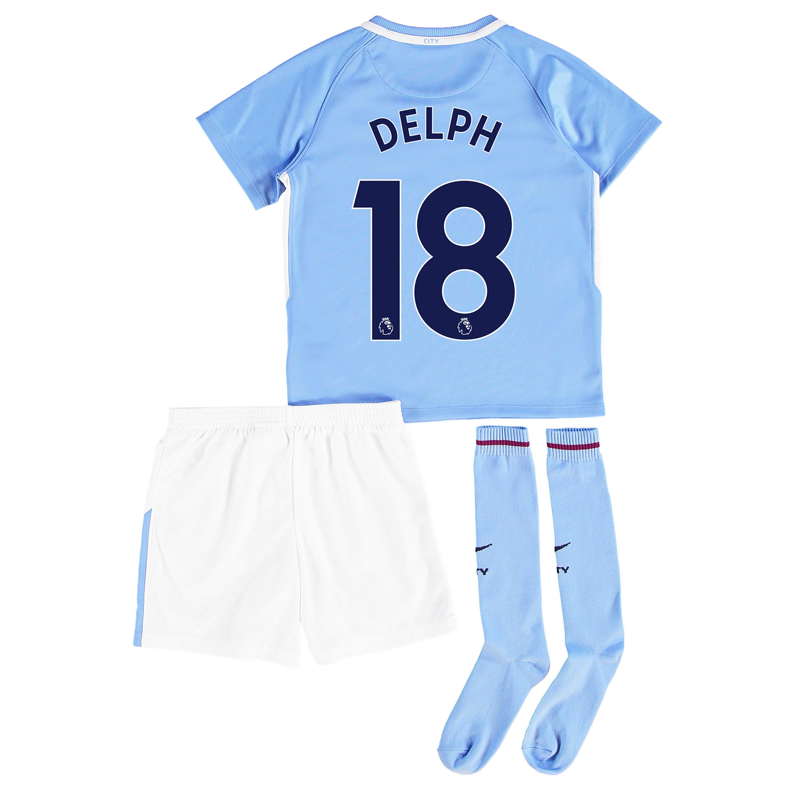 Manchester City Home Stadium Kit 2017-18 - Little Kids with Delph 18 p