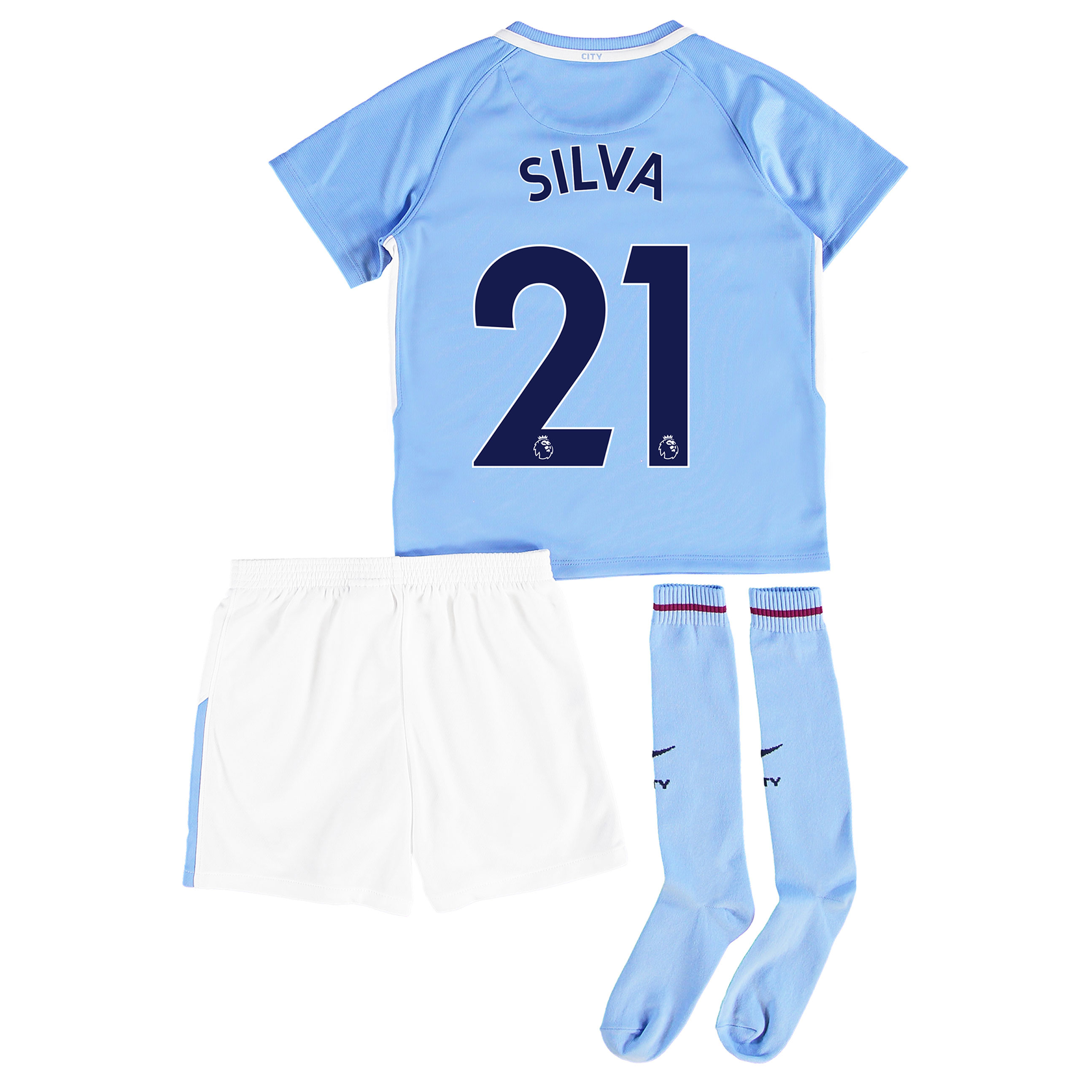 Manchester City Home Stadium Kit 2017-18 - Little Kids with Silva 21 p