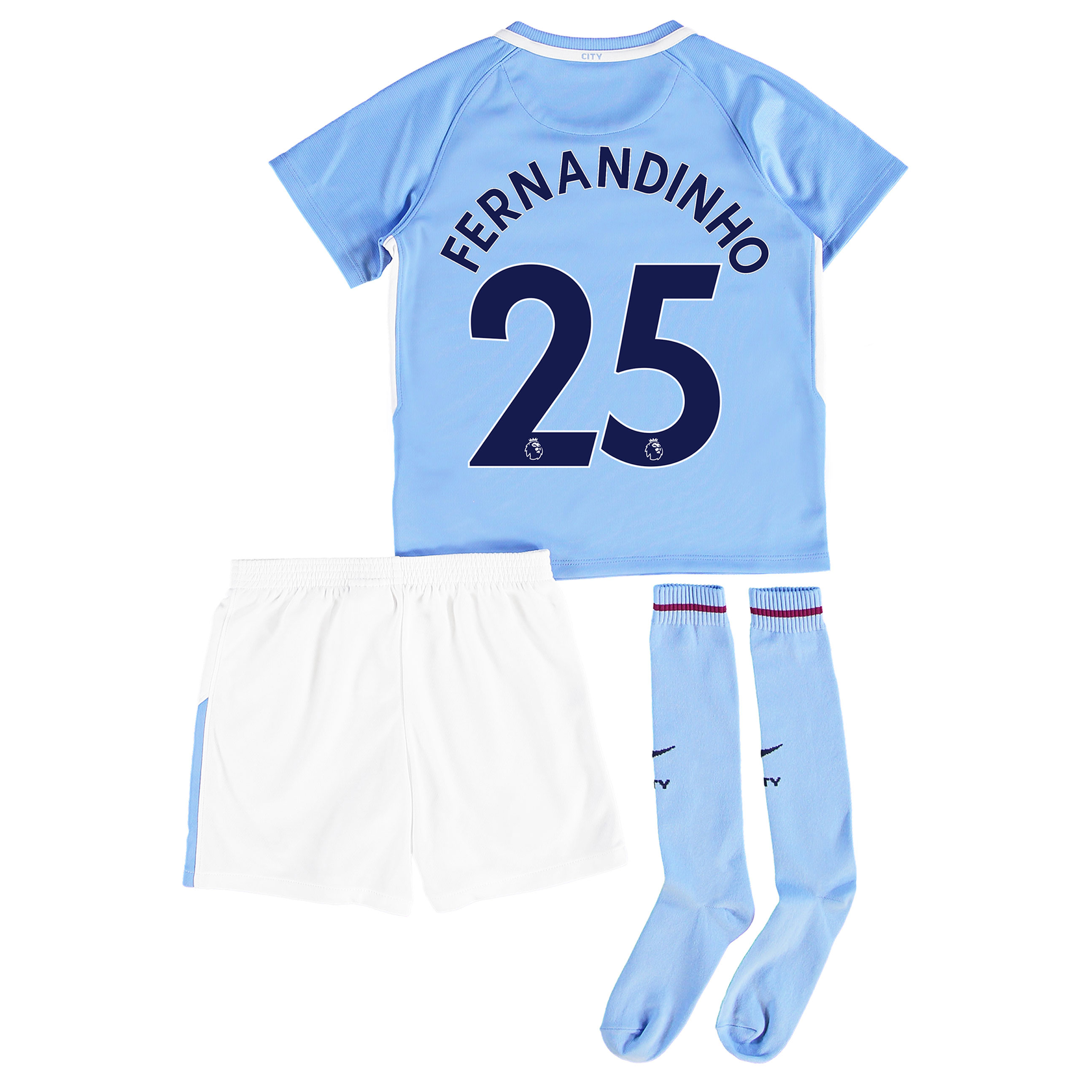 Manchester City Home Stadium Kit 2017-18 - Little Kids with Fernandinh