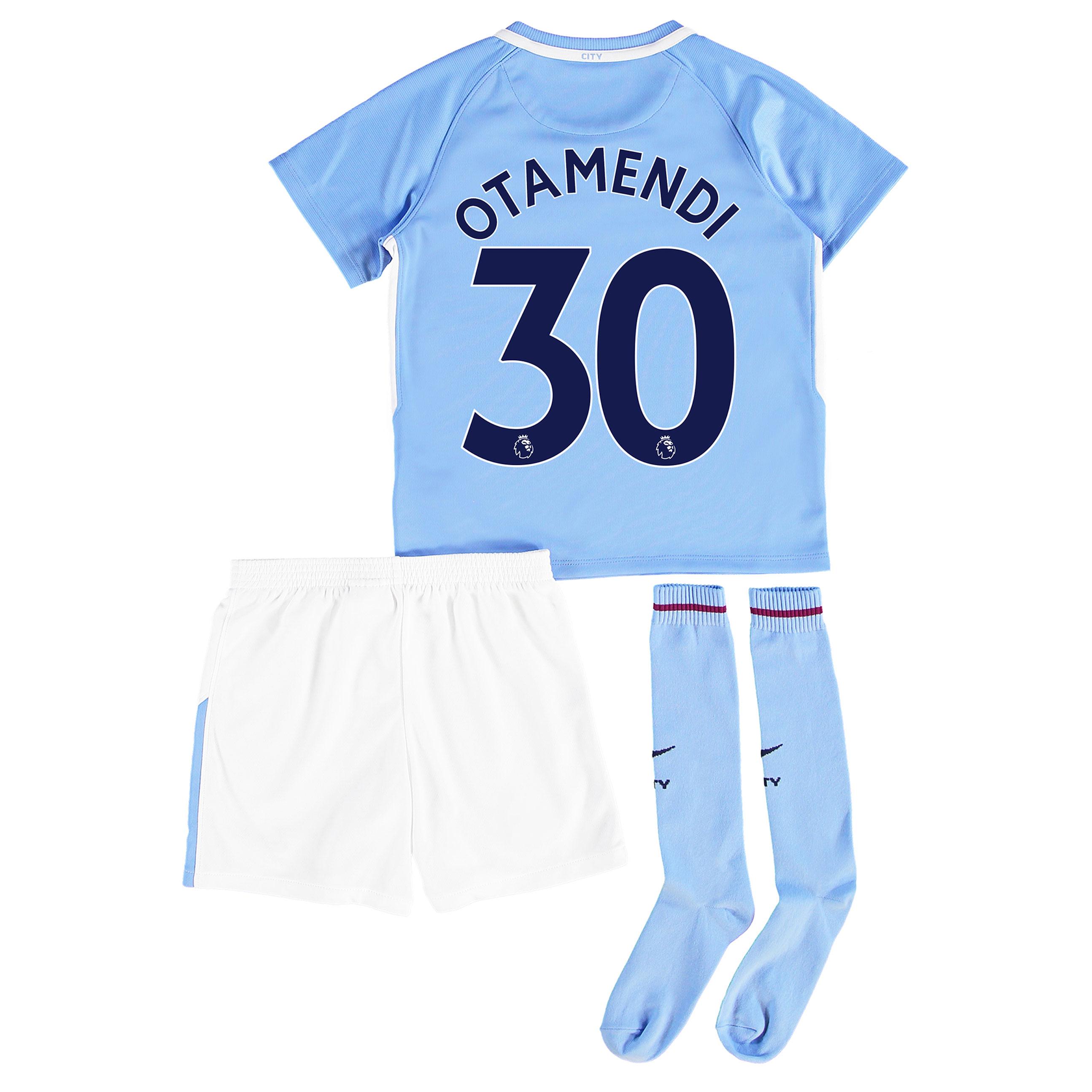 Manchester City Home Stadium Kit 2017-18 - Little Kids with Otamendi 3
