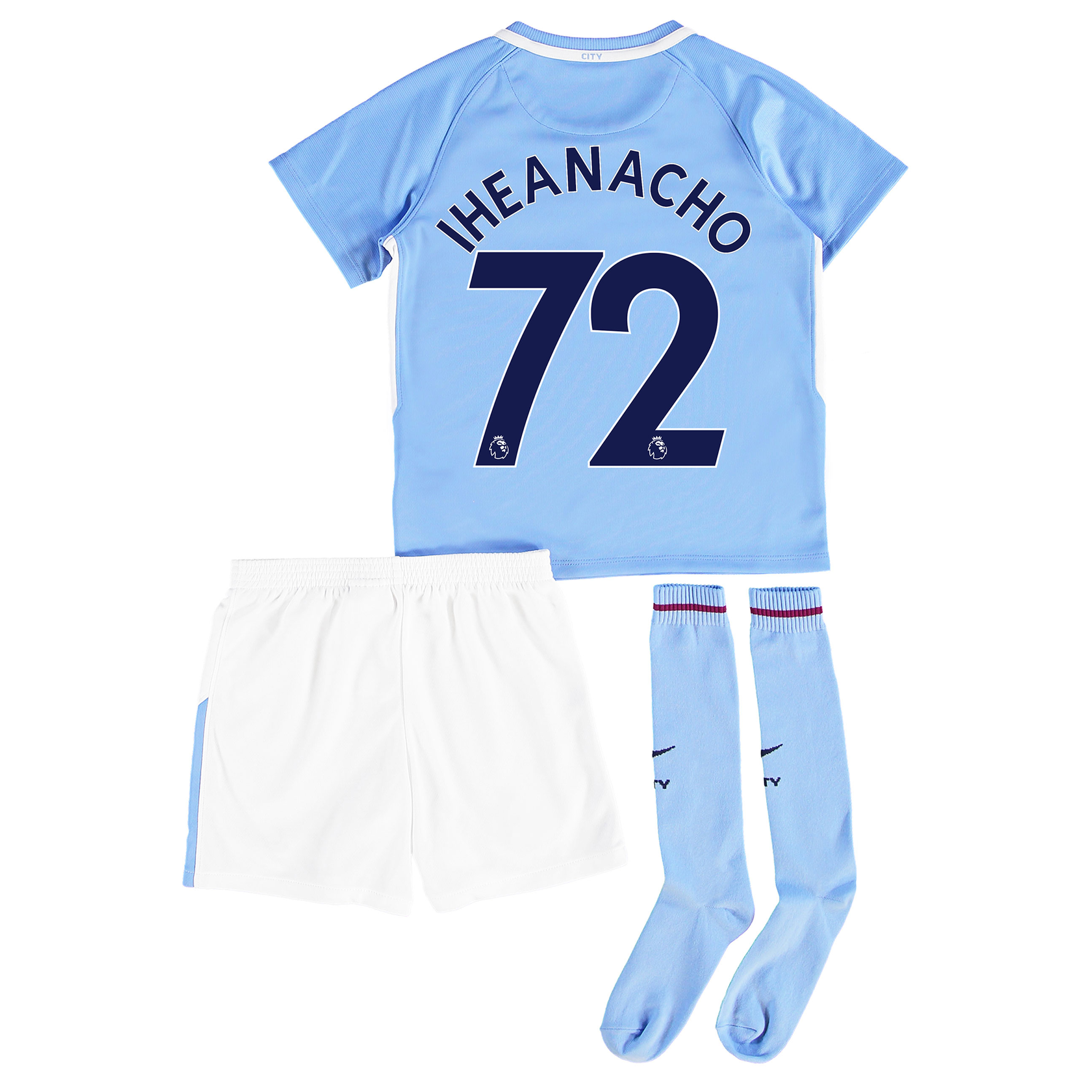Manchester City Home Stadium Kit 2017-18 - Little Kids with Iheanacho