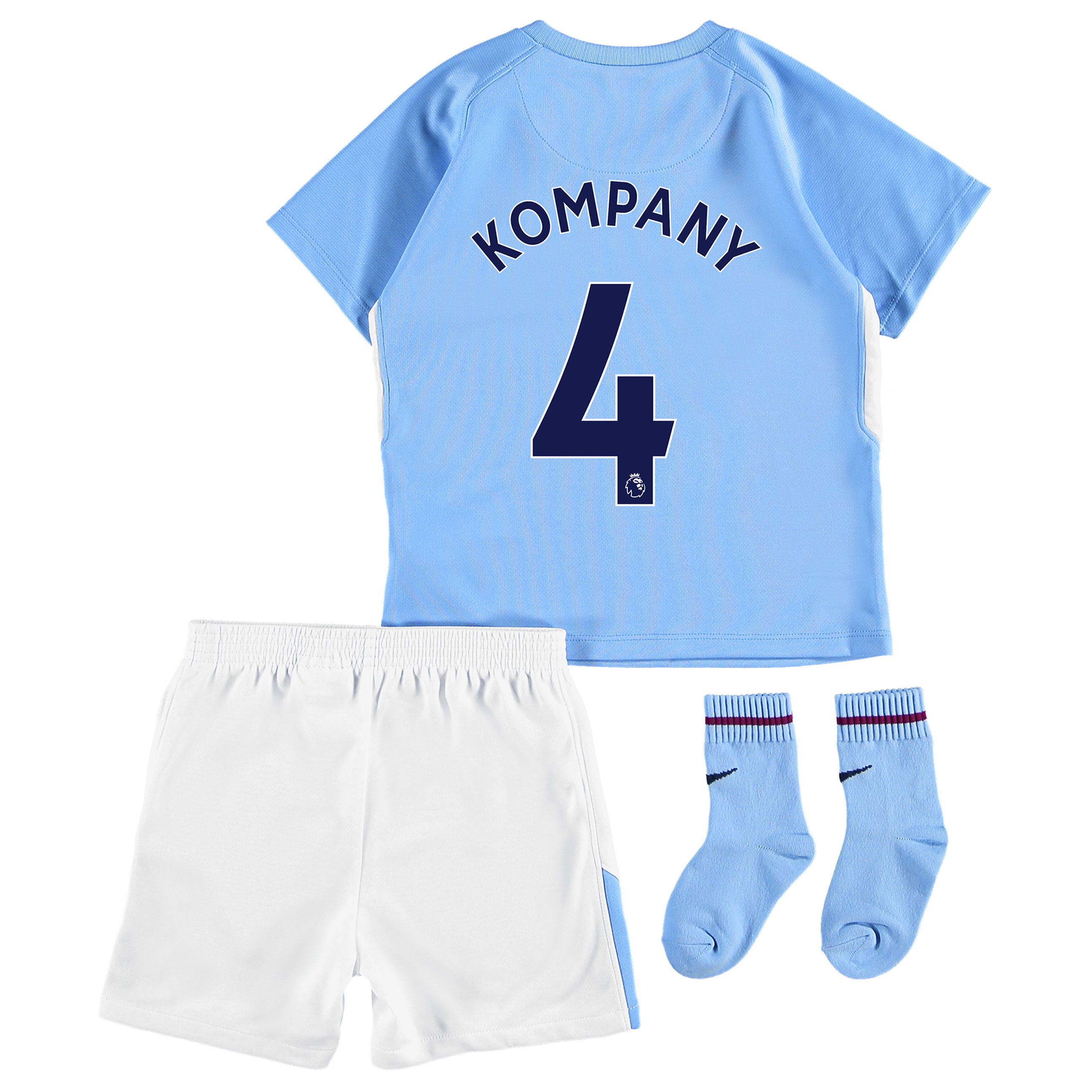 Manchester City Home Stadium Kit 2017-18 - Infants with Kompany 4 prin