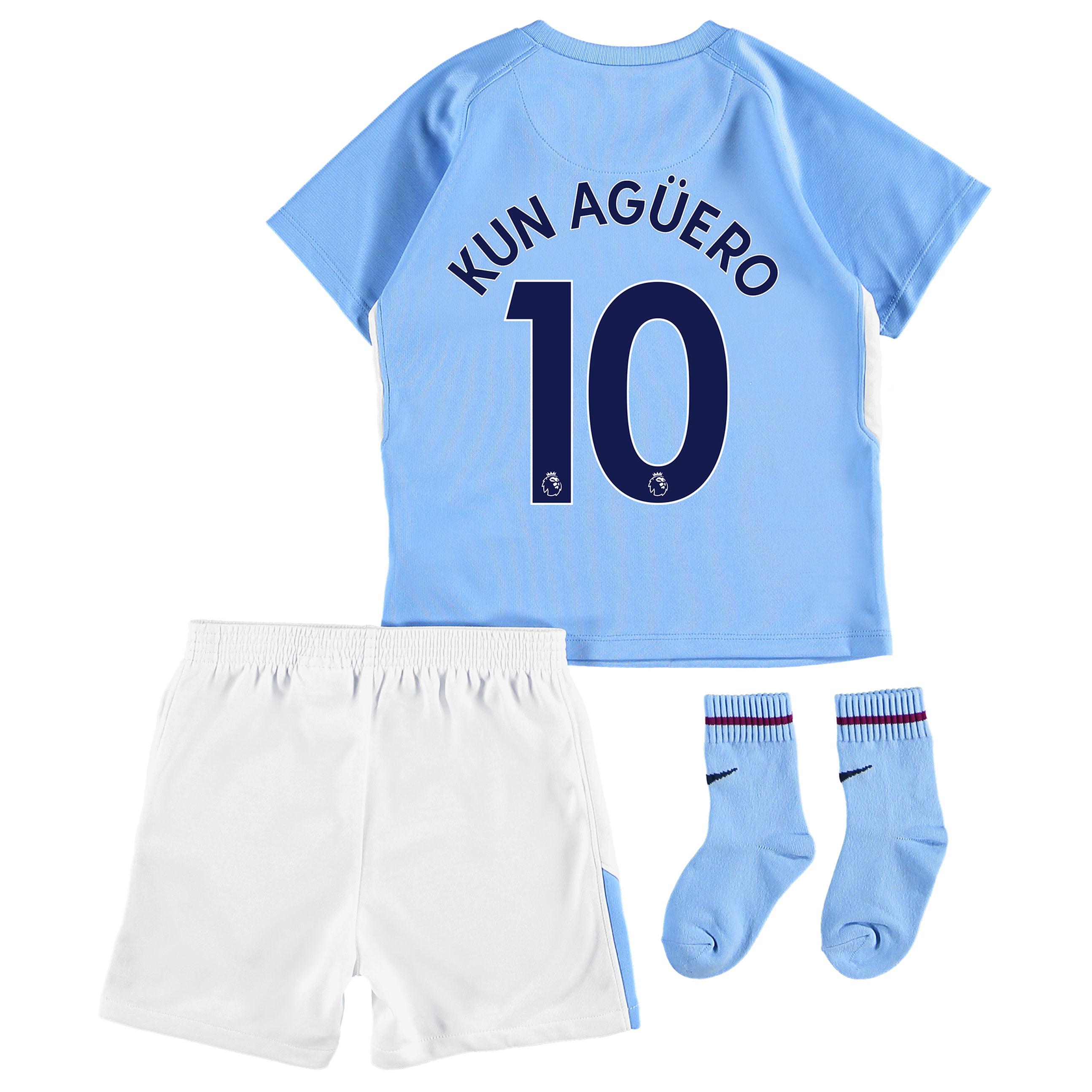 Manchester City Home Stadium Kit 2017-18 - Infants with Kun Agüero  10