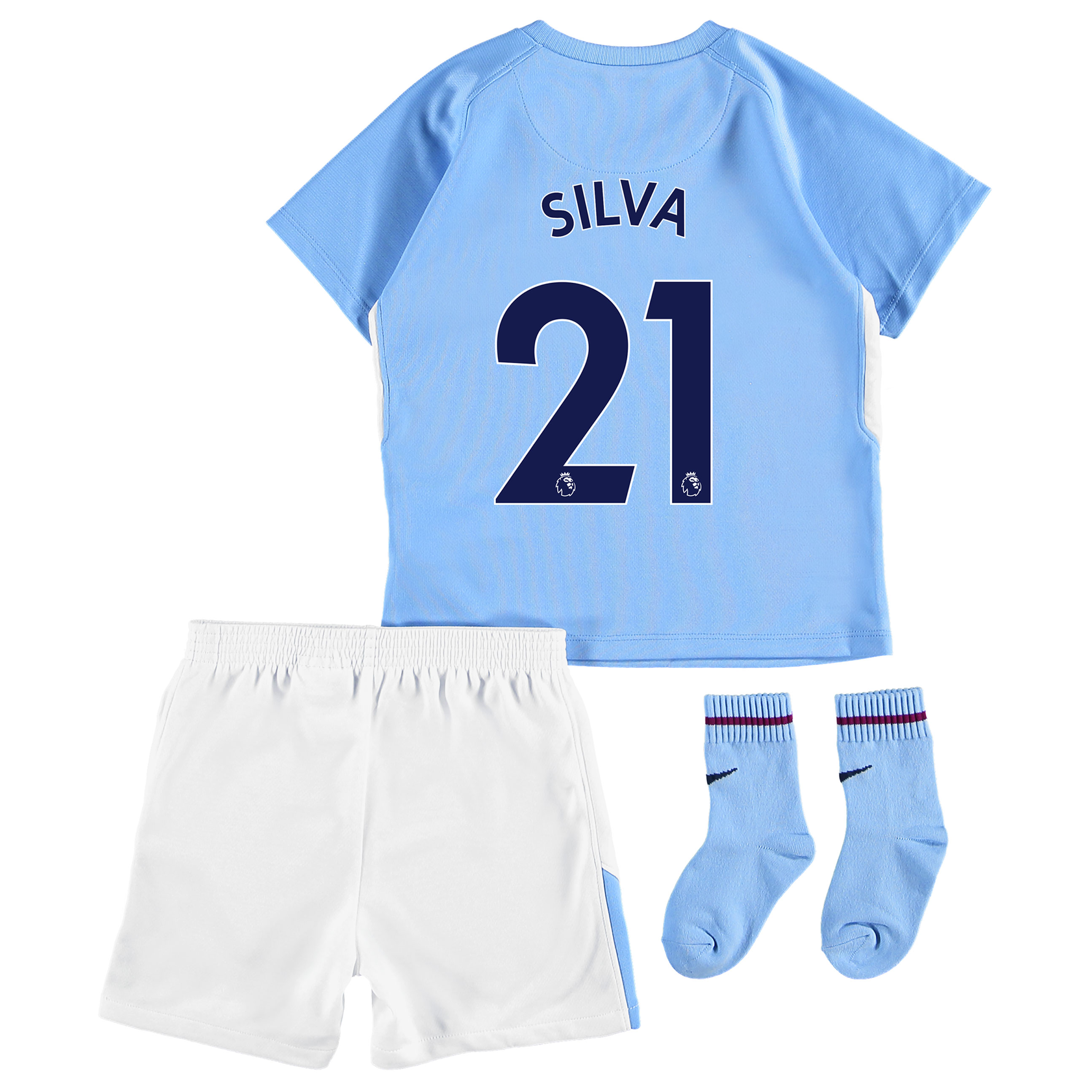 Manchester City Home Stadium Kit 2017-18 - Infants with Silva 21 print