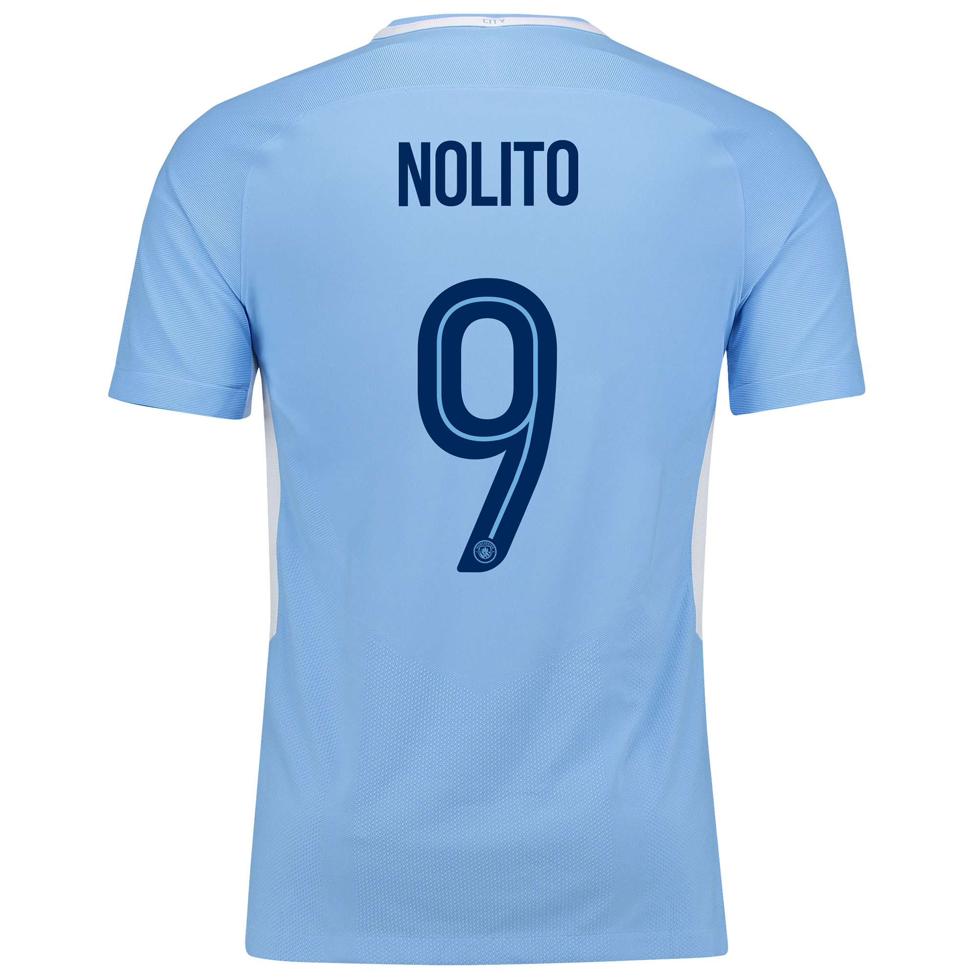 Manchester City Home Vapor Match Cup Shirt 2017-18 with Nolito 9 print