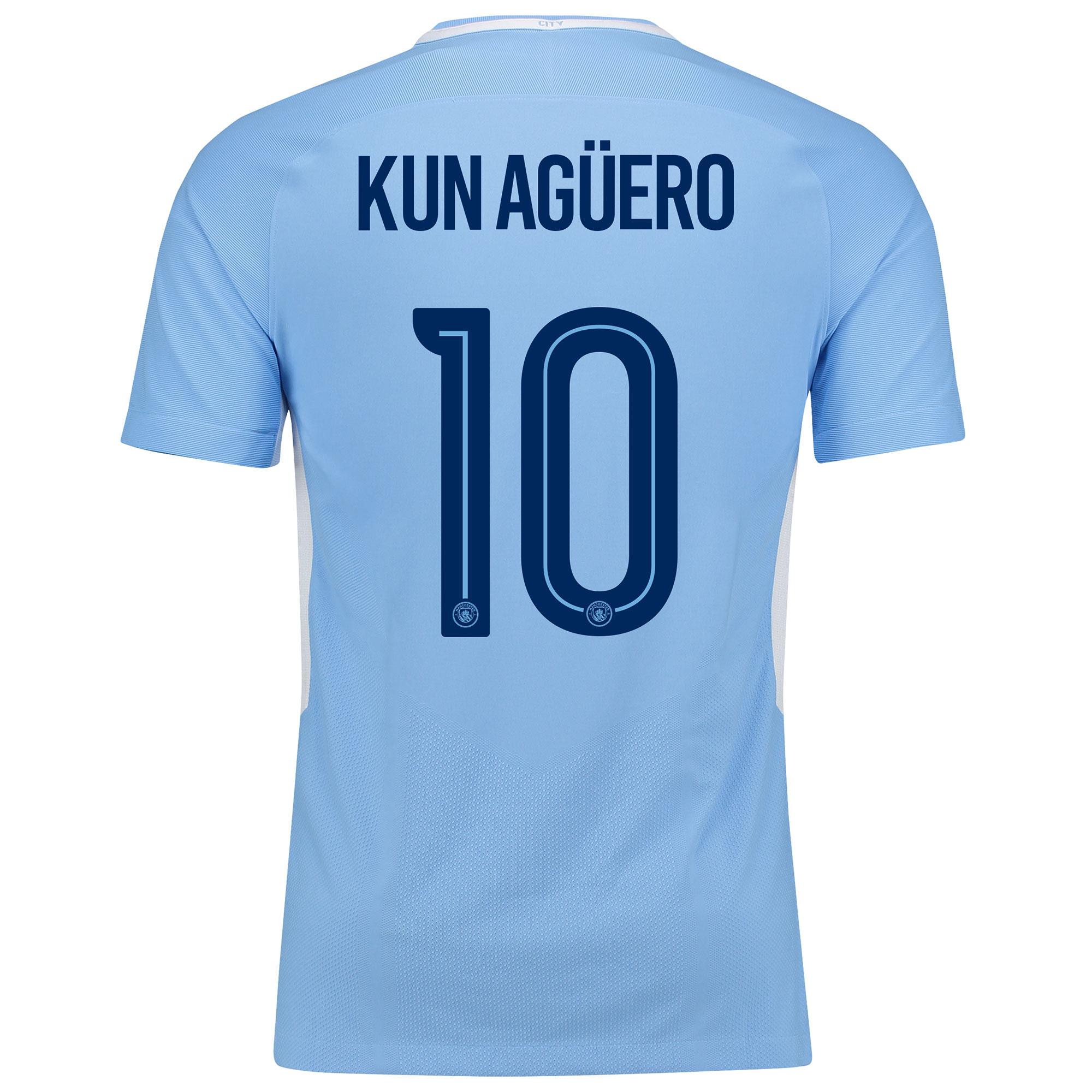 Manchester City Home Vapor Match Cup Shirt 2017-18 with Kun Agüero  10
