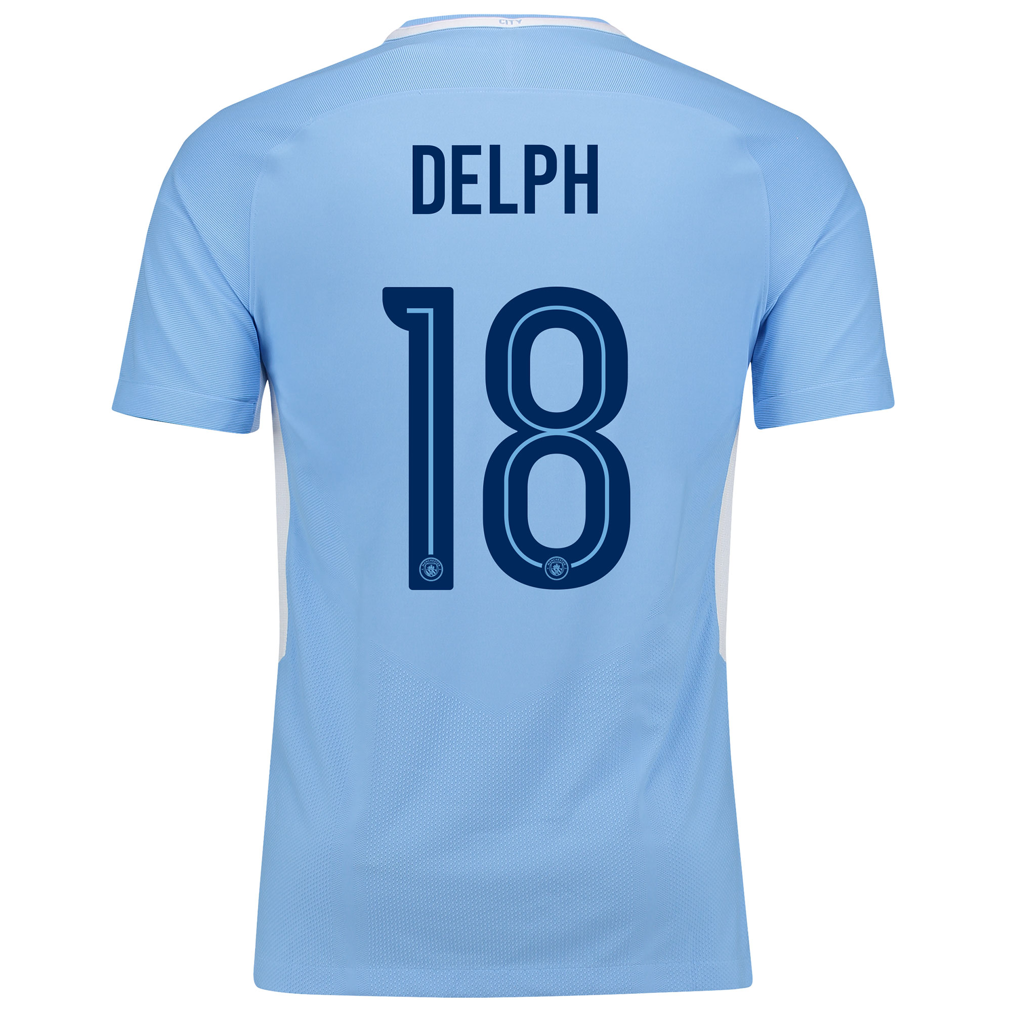 Manchester City Home Vapor Match Cup Shirt 2017-18 with Delph 18 print