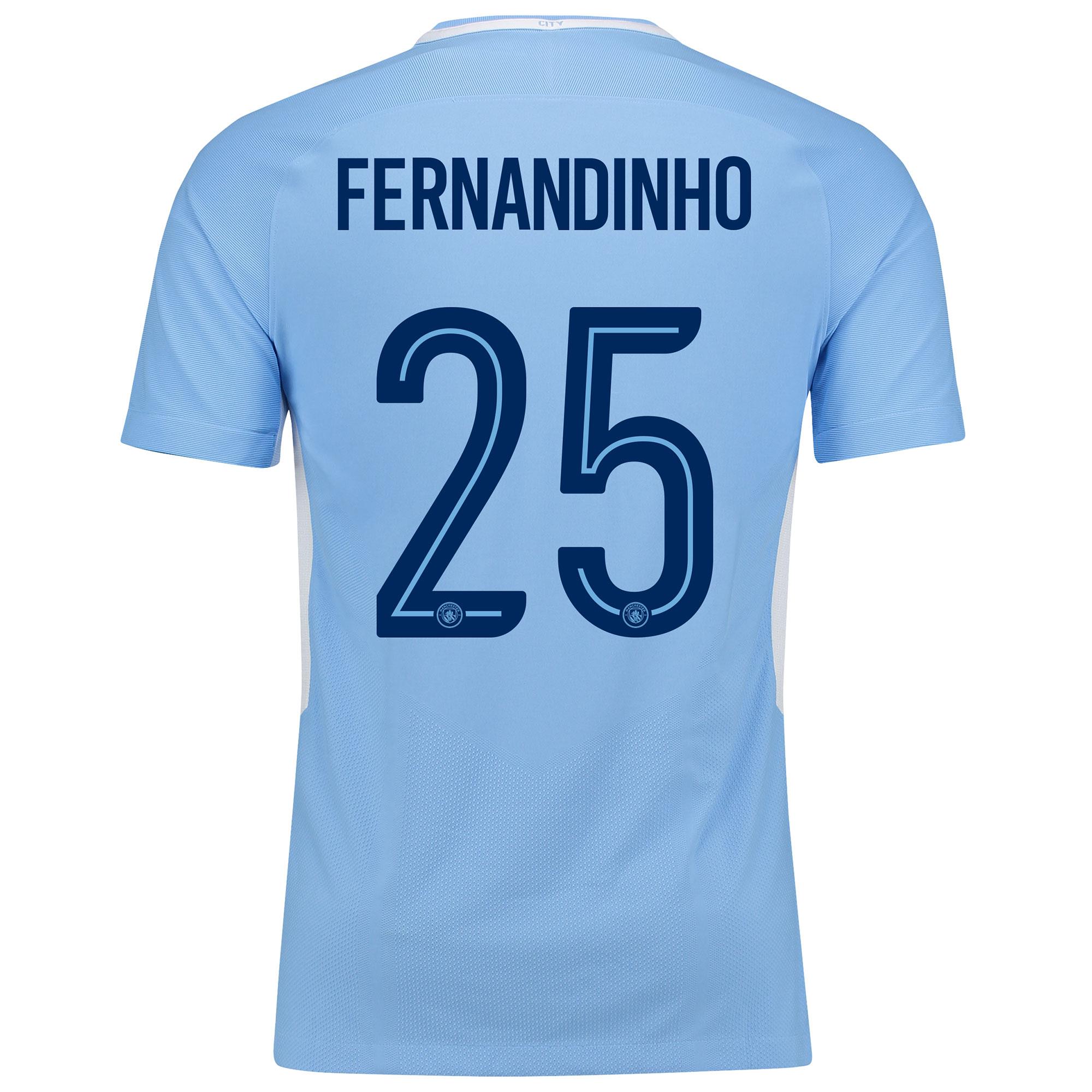 Manchester City Home Vapor Match Cup Shirt 2017-18 with Fernandinho 25