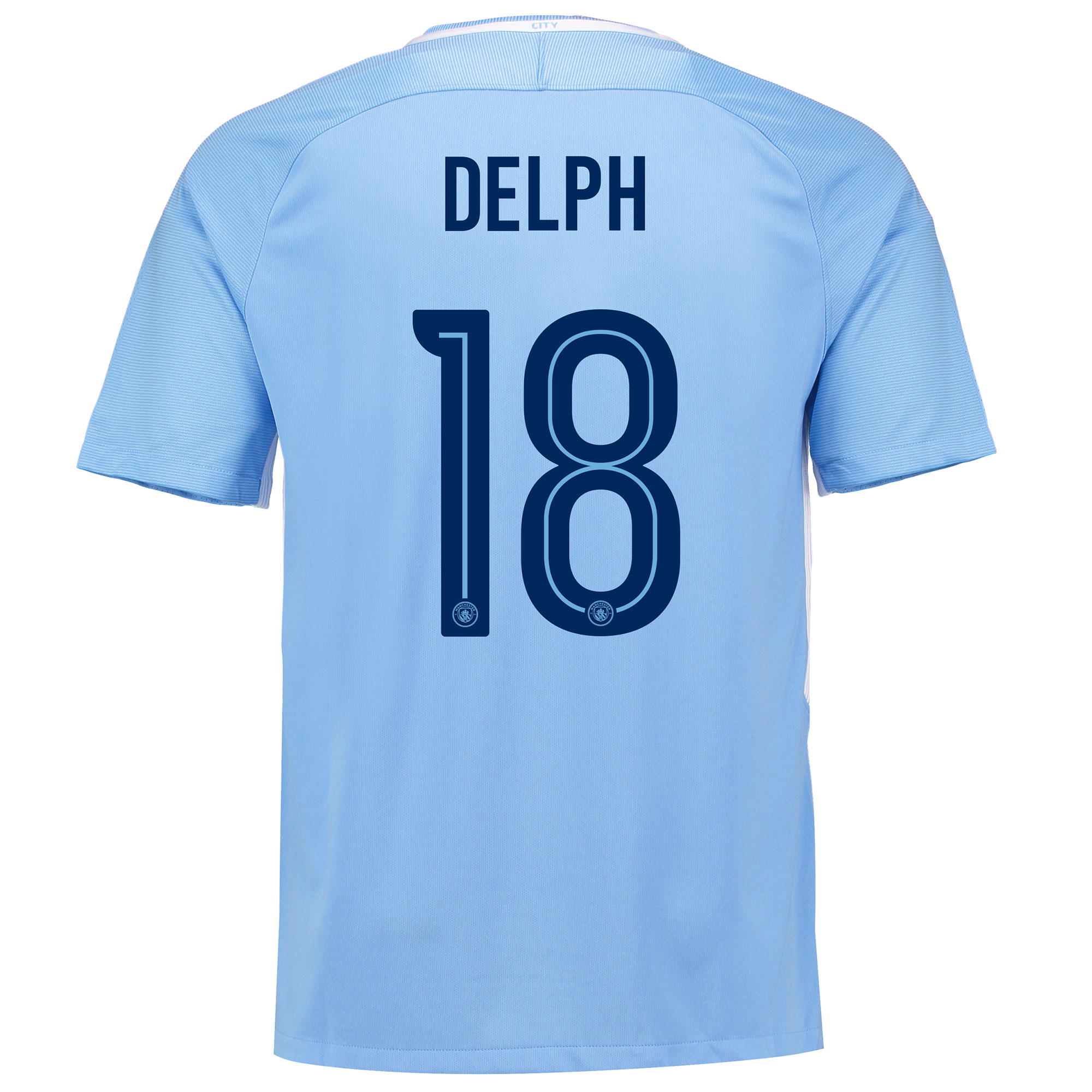 Manchester City Home Stadium Cup Shirt 2017-18 with Delph 18 printing