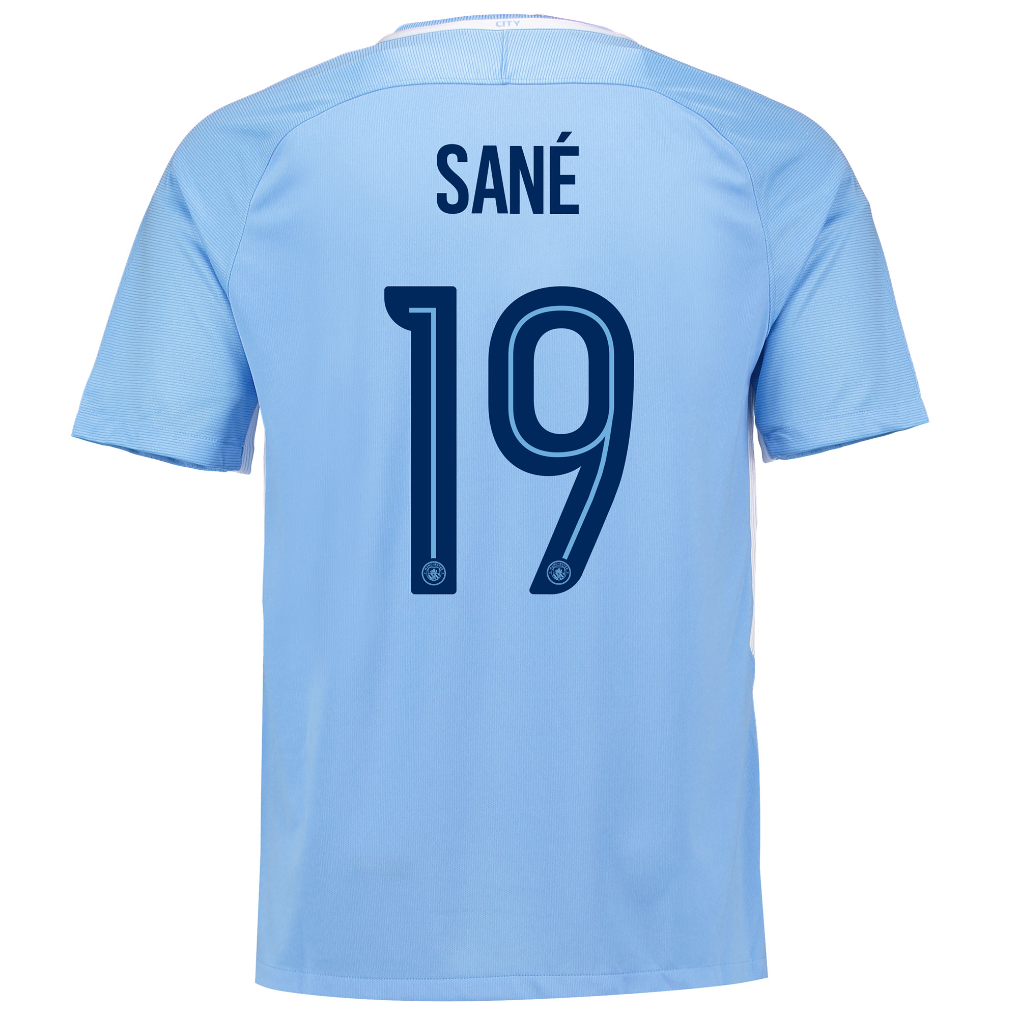 Manchester City Home Stadium Cup Shirt 2017-18 with San?® 19 printing