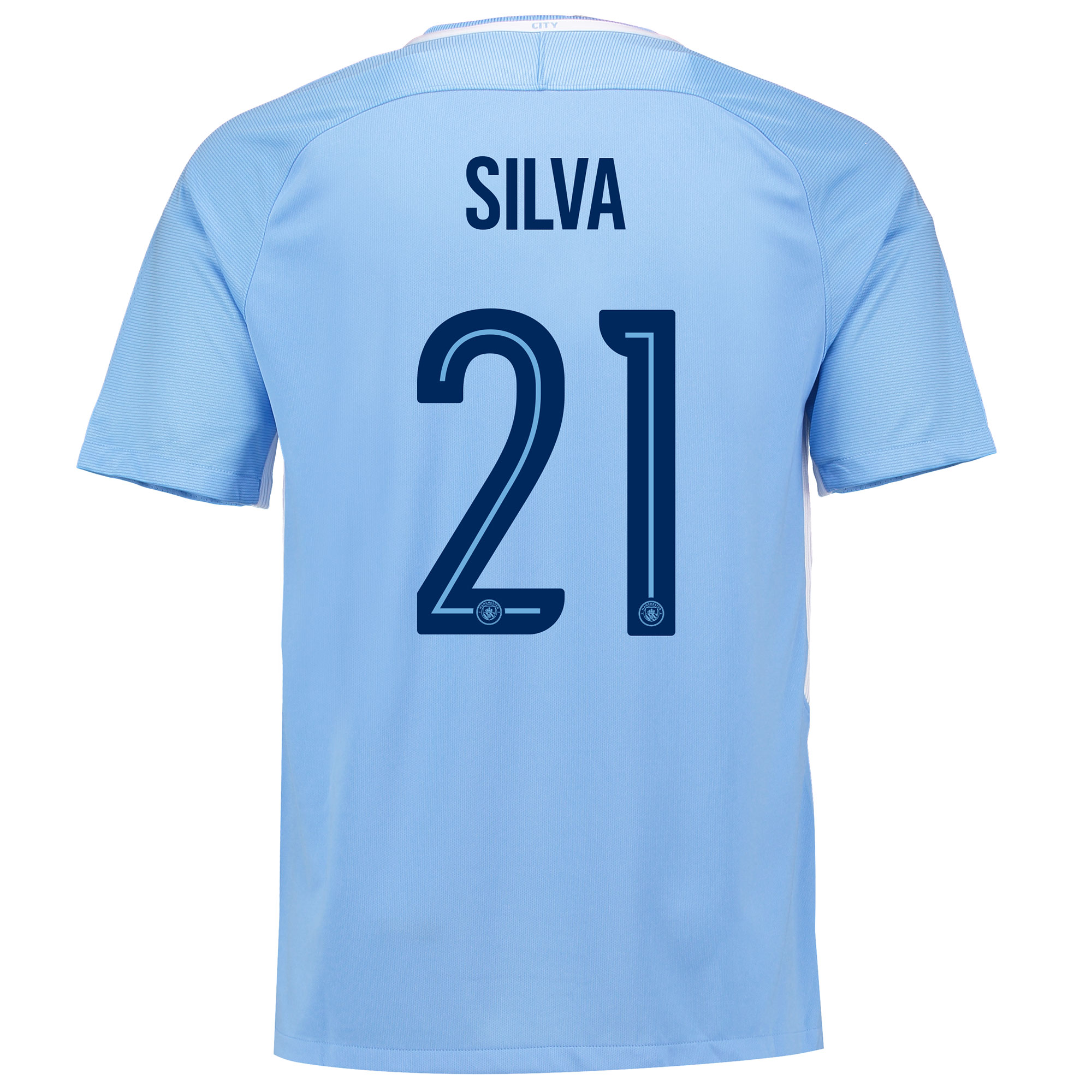 Manchester City Home Stadium Cup Shirt 2017-18 with Silva 21 printing