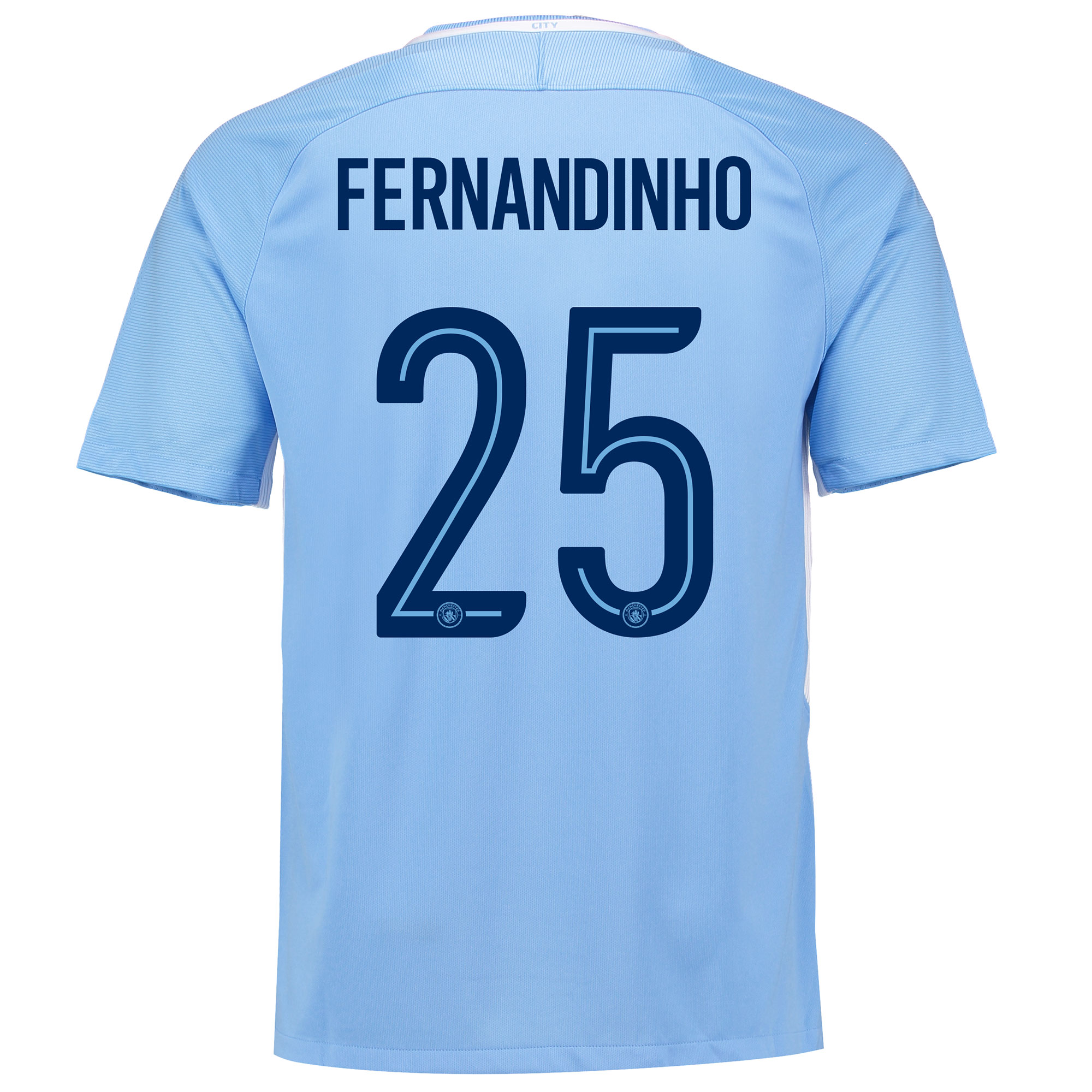 Manchester City Home Stadium Cup Shirt 2017-18 with Fernandinho 25 pri