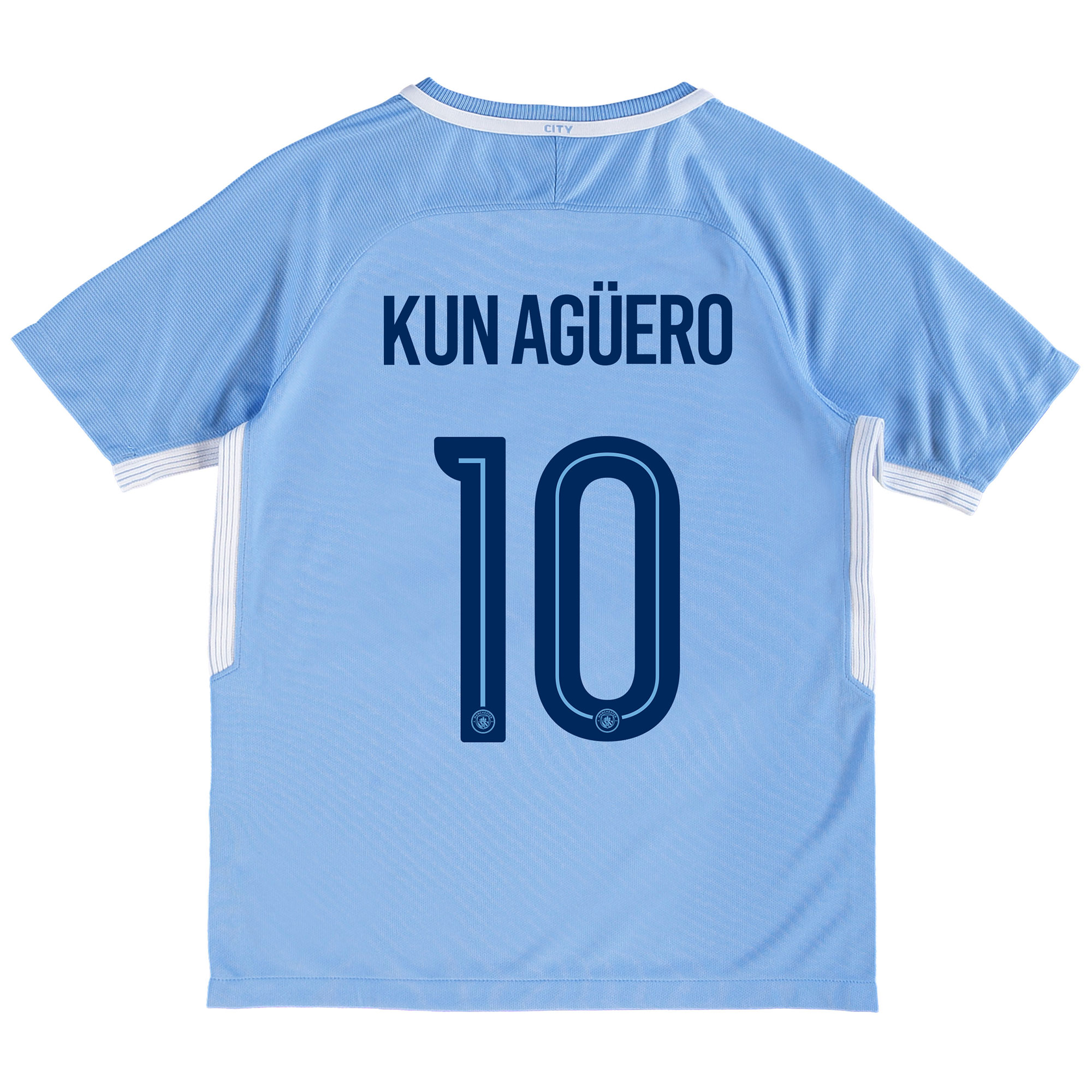 Manchester City Home Stadium Cup Shirt 2017-18 - Kids with Kun Agüero