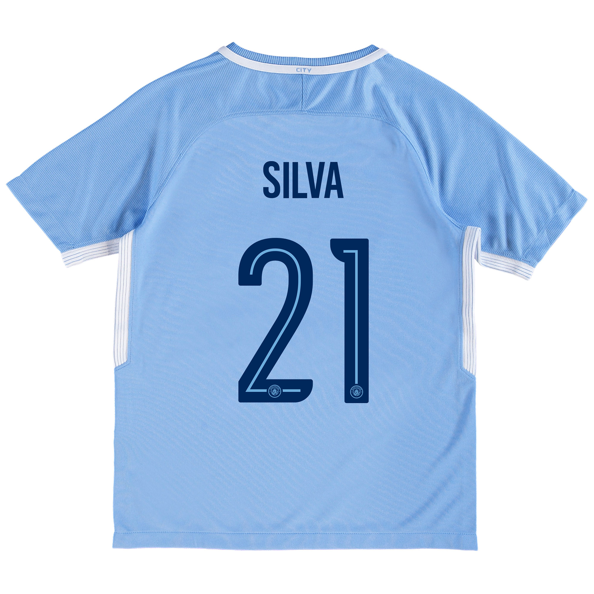 Manchester City Home Stadium Cup Shirt 2017-18 - Kids with Silva 21 pr