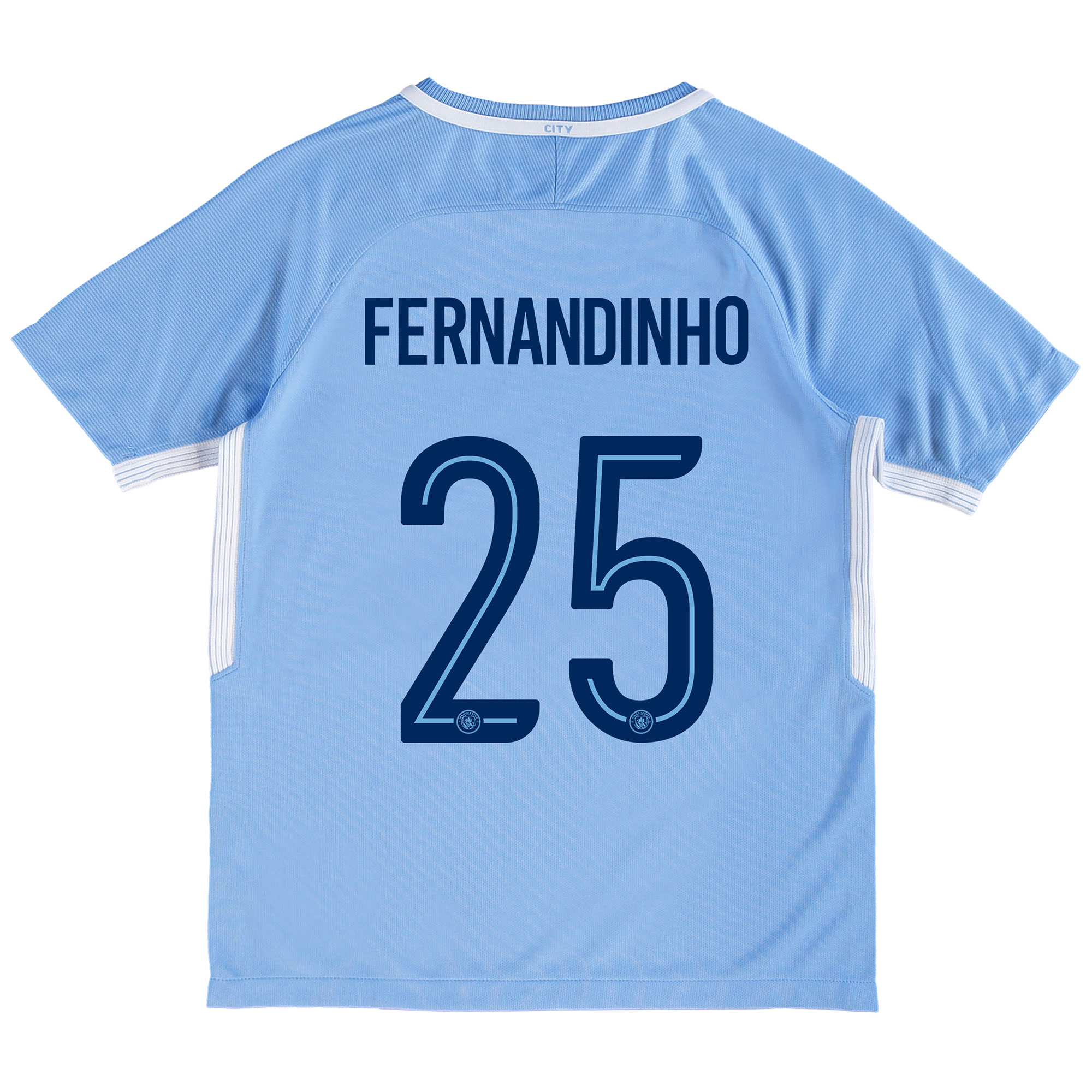 Manchester City Home Stadium Cup Shirt 2017-18 - Kids with Fernandinho