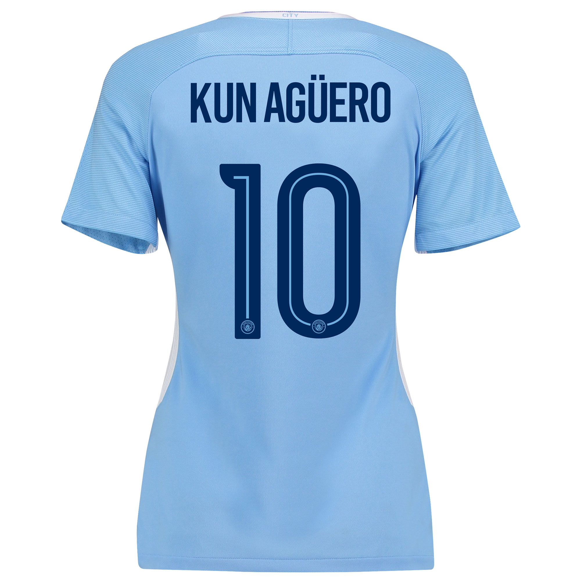 Manchester City Home Stadium Cup Shirt 2017-18 - Womens with Kun Ag??er