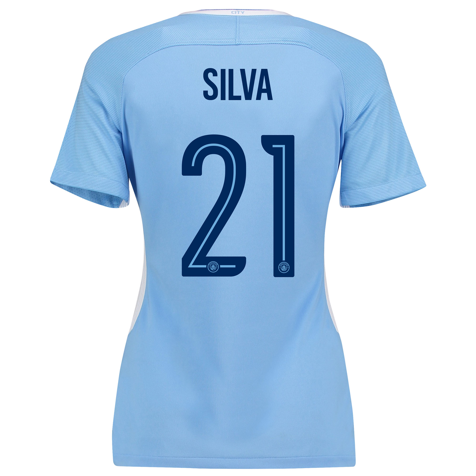 Manchester City Home Stadium Cup Shirt 2017-18 - Womens with Silva 21