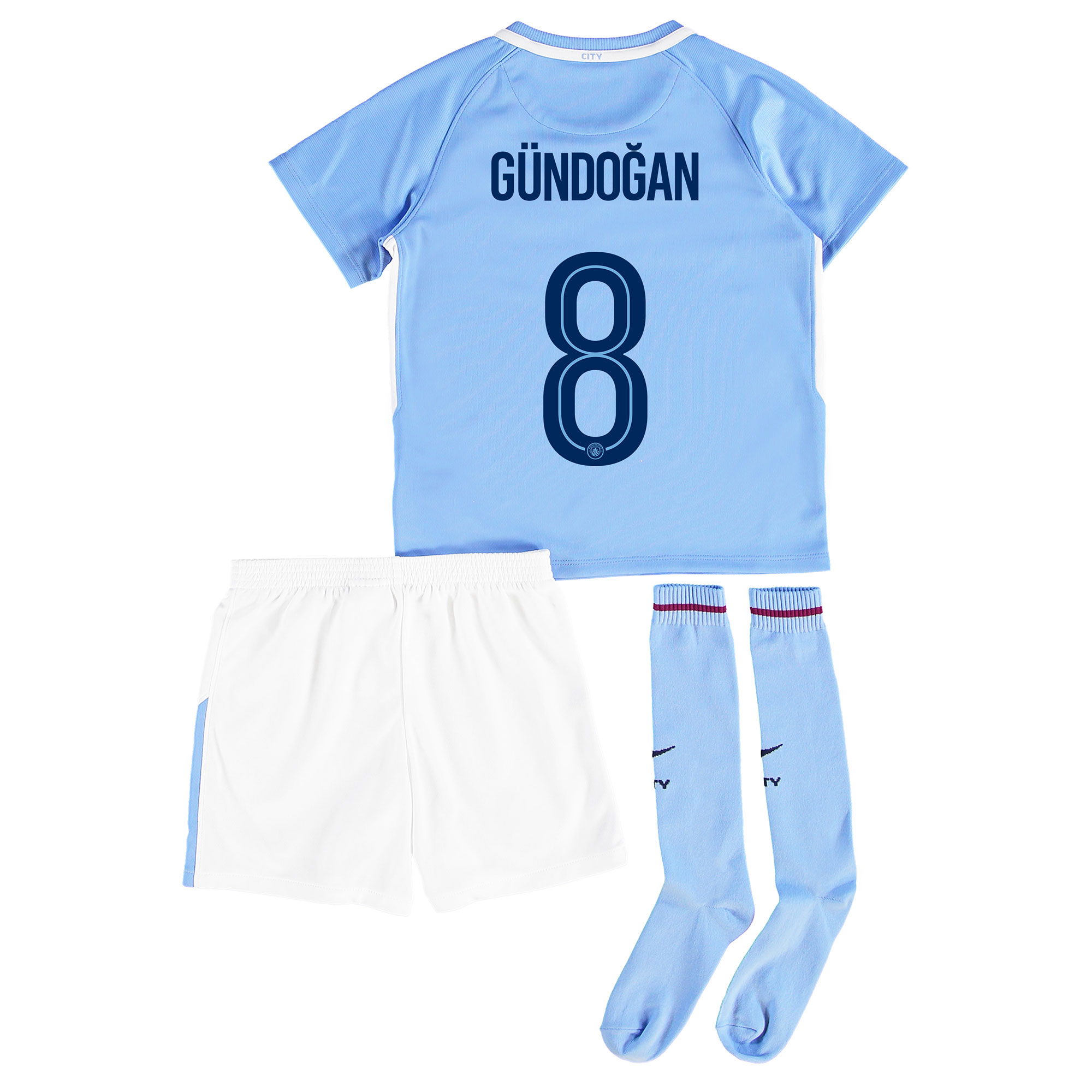 Manchester City Home Stadium Cup Kit 2017-18 - Little Kids with G??ndog