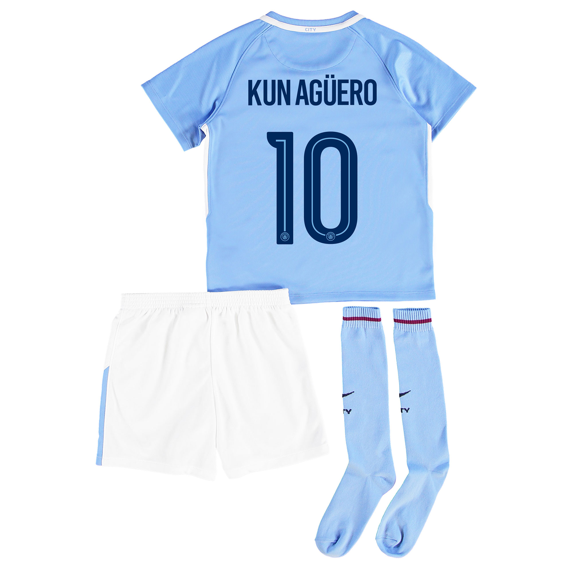 Manchester City Home Stadium Cup Kit 2017-18 - Little Kids with Kun Ag