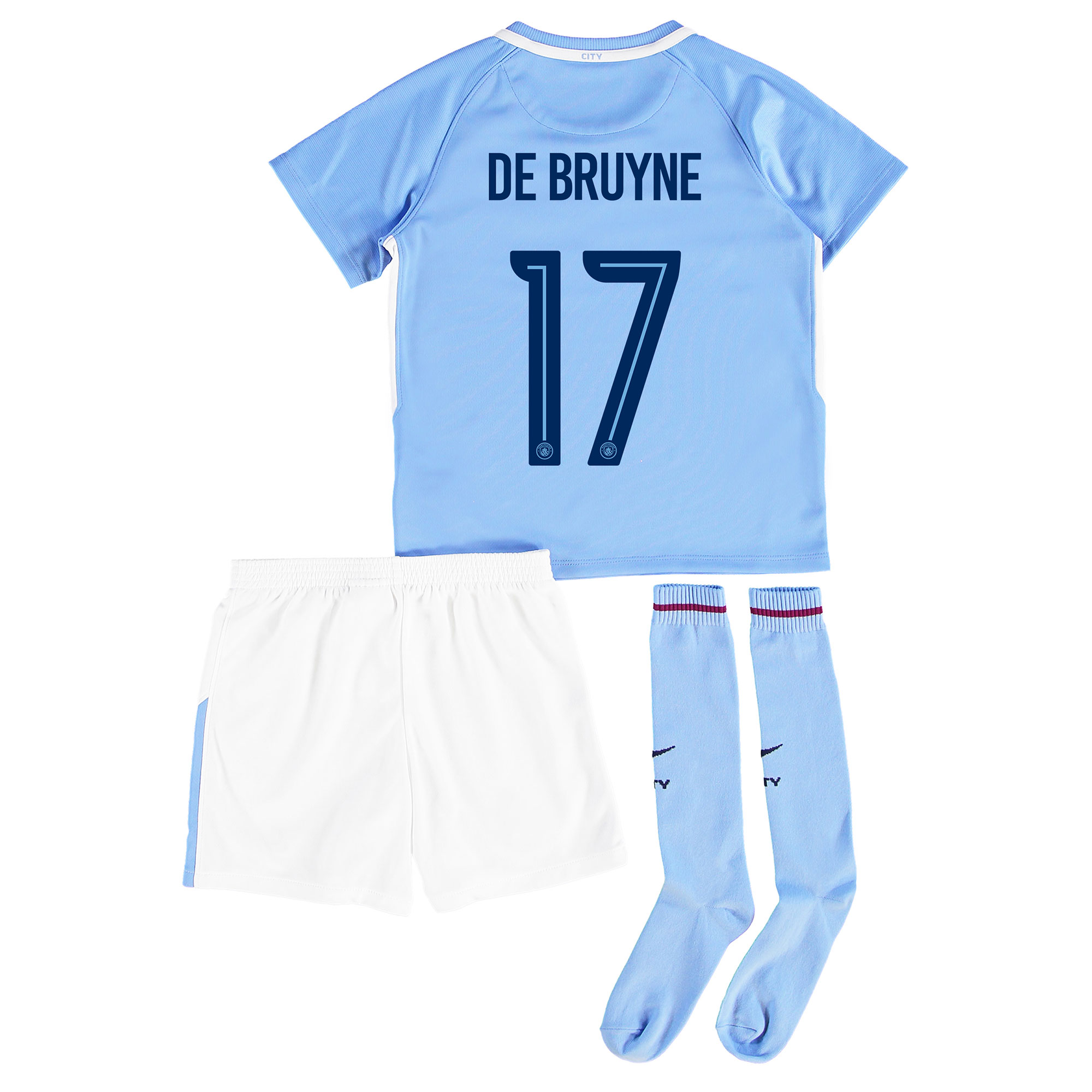 Manchester City Home Stadium Cup Kit 2017-18 - Little Kids with De Bru