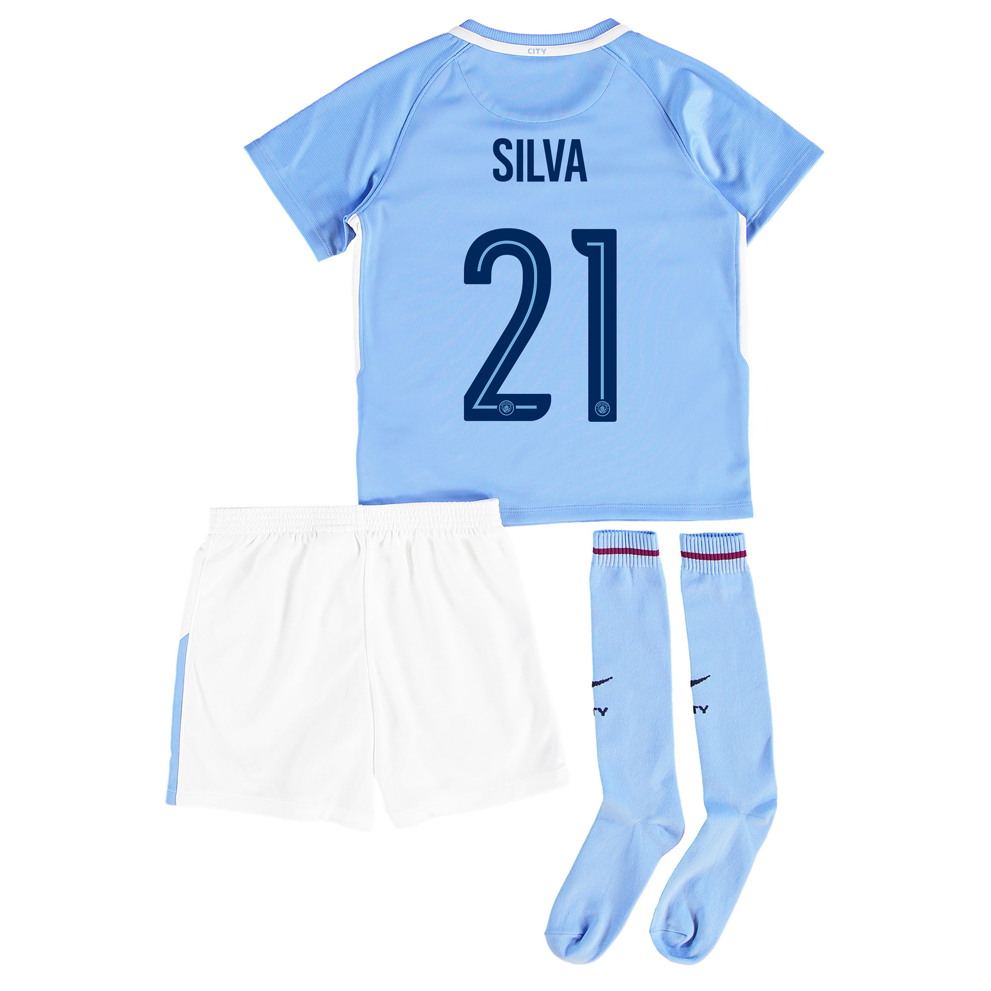 Manchester City Home Stadium Cup Kit 2017-18 - Little Kids with Silva