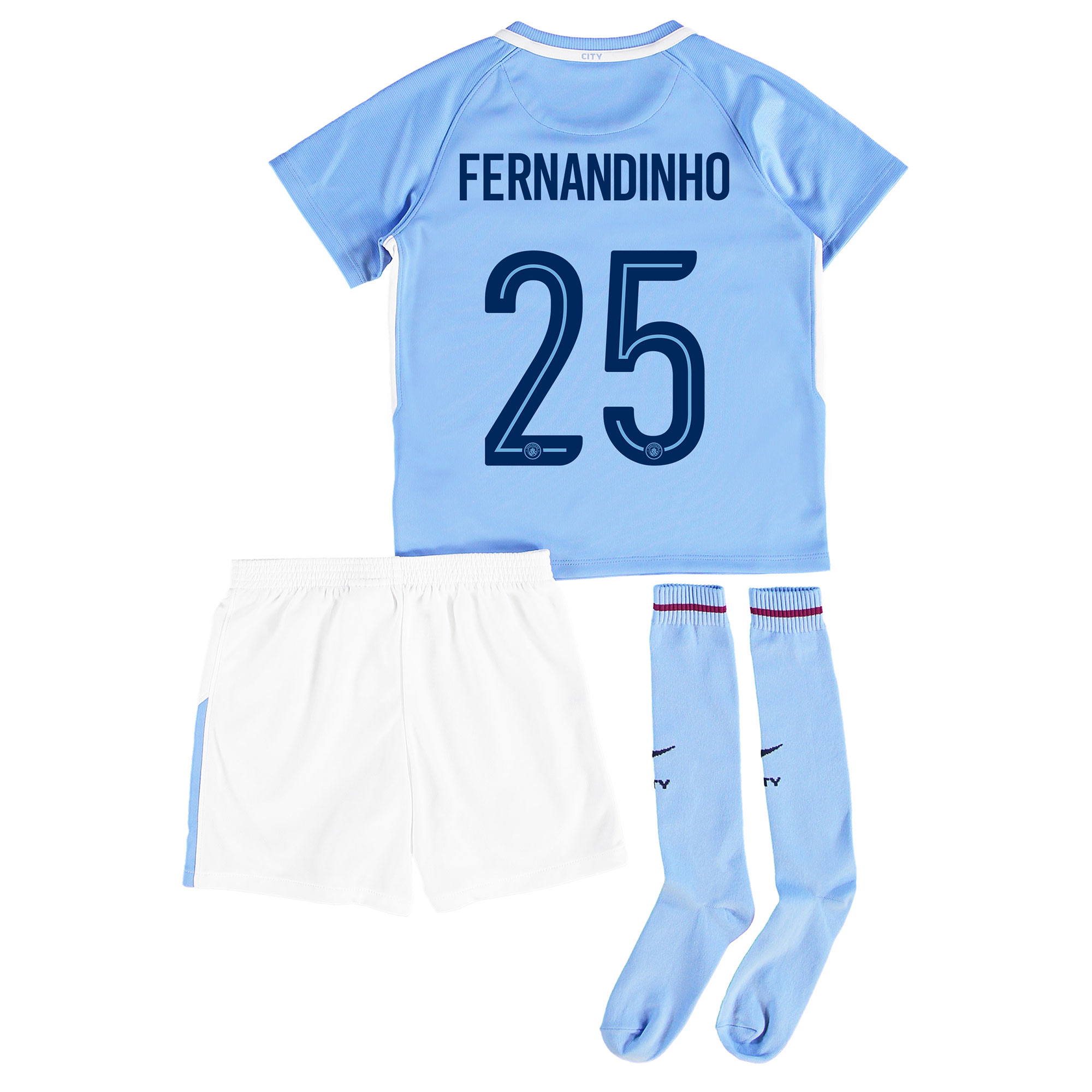 Manchester City Home Stadium Cup Kit 2017-18 - Little Kids with Fernan