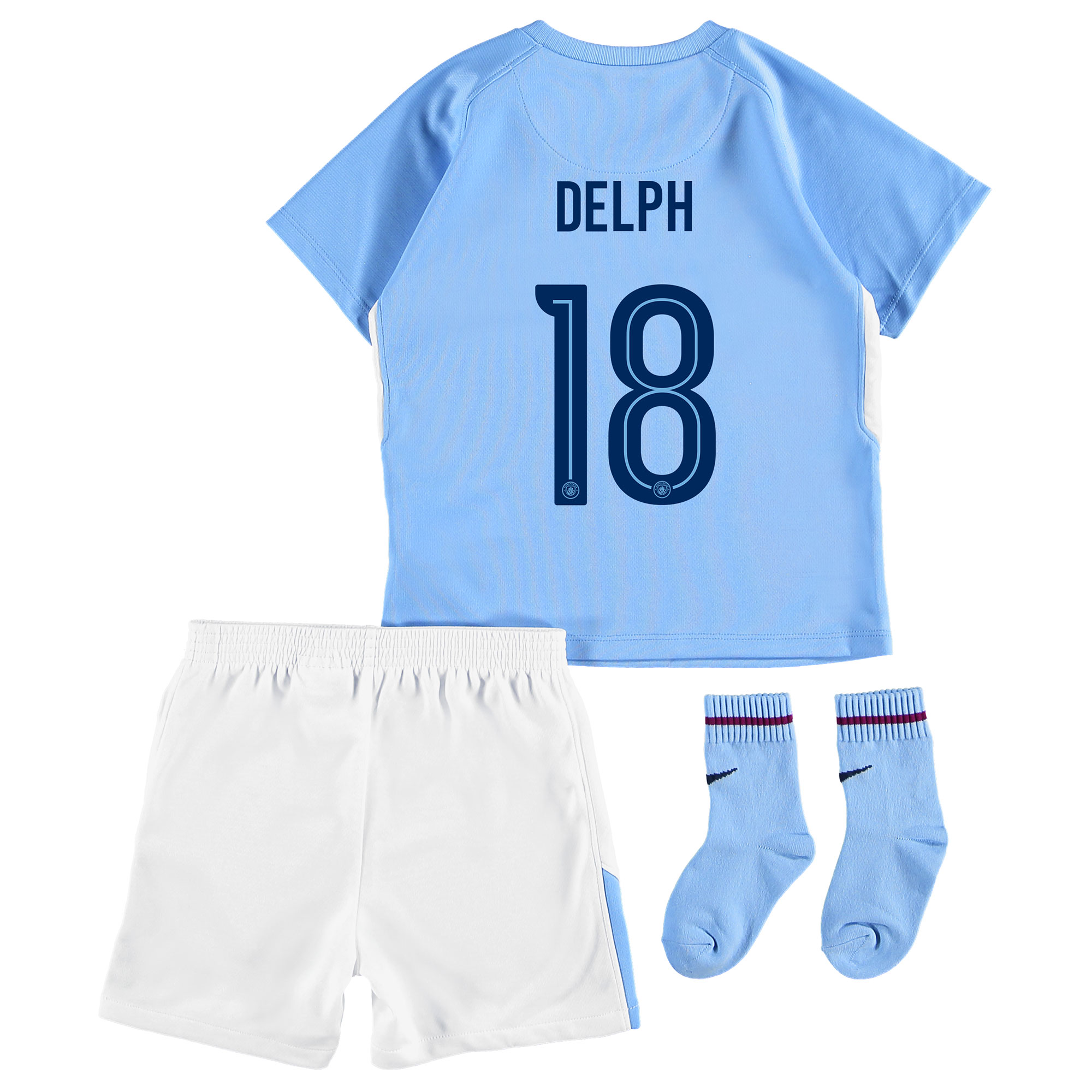 Manchester City Home Stadium Cup Kit 2017-18 - Infants with Delph 18 p