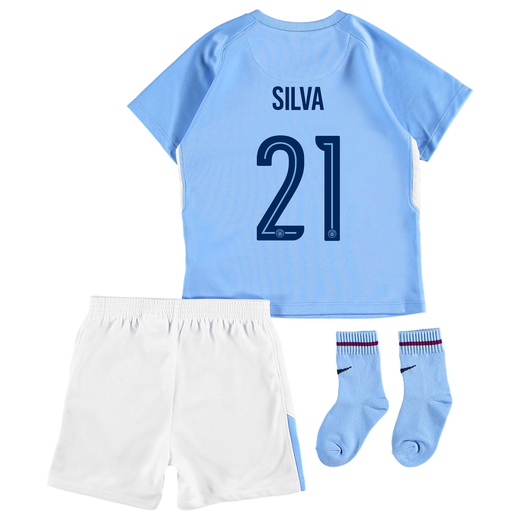 Manchester City Home Stadium Cup Kit 2017-18 - Infants with Silva 21 p