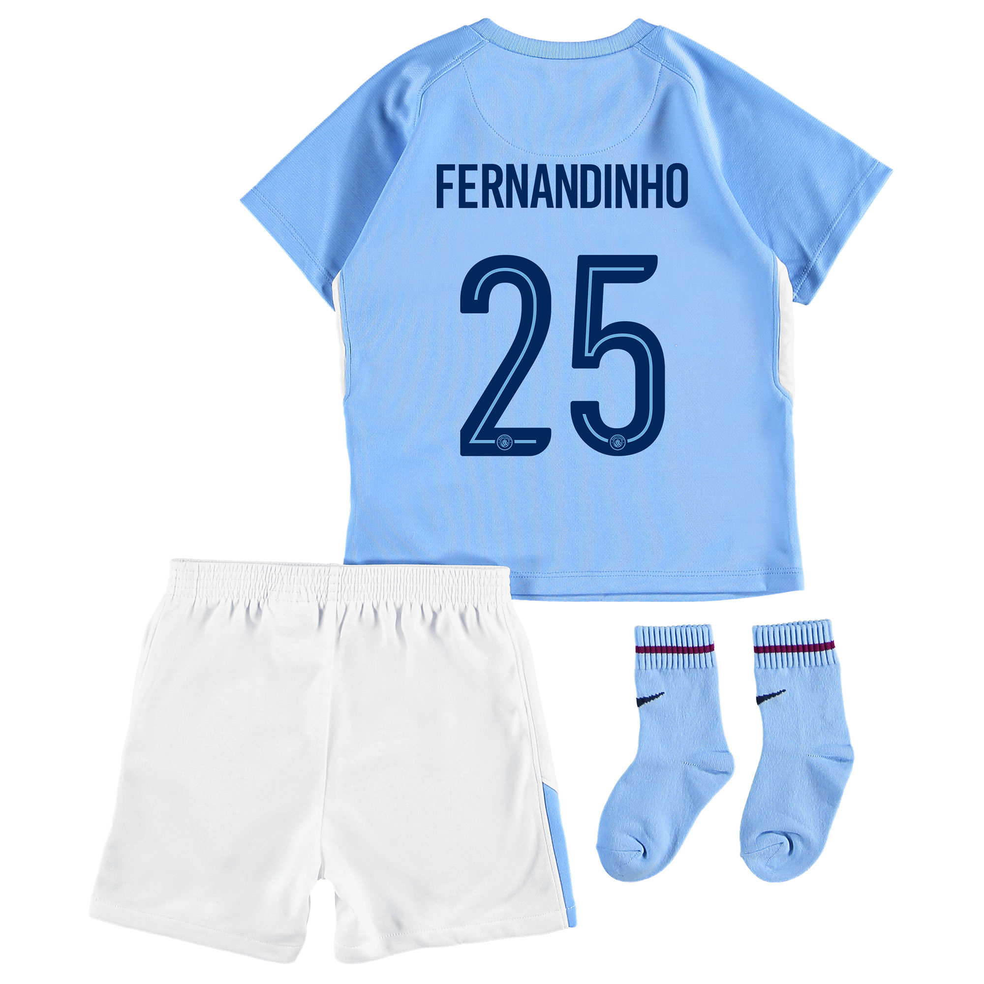 Manchester City Home Stadium Cup Kit 2017-18 - Infants with Fernandinh