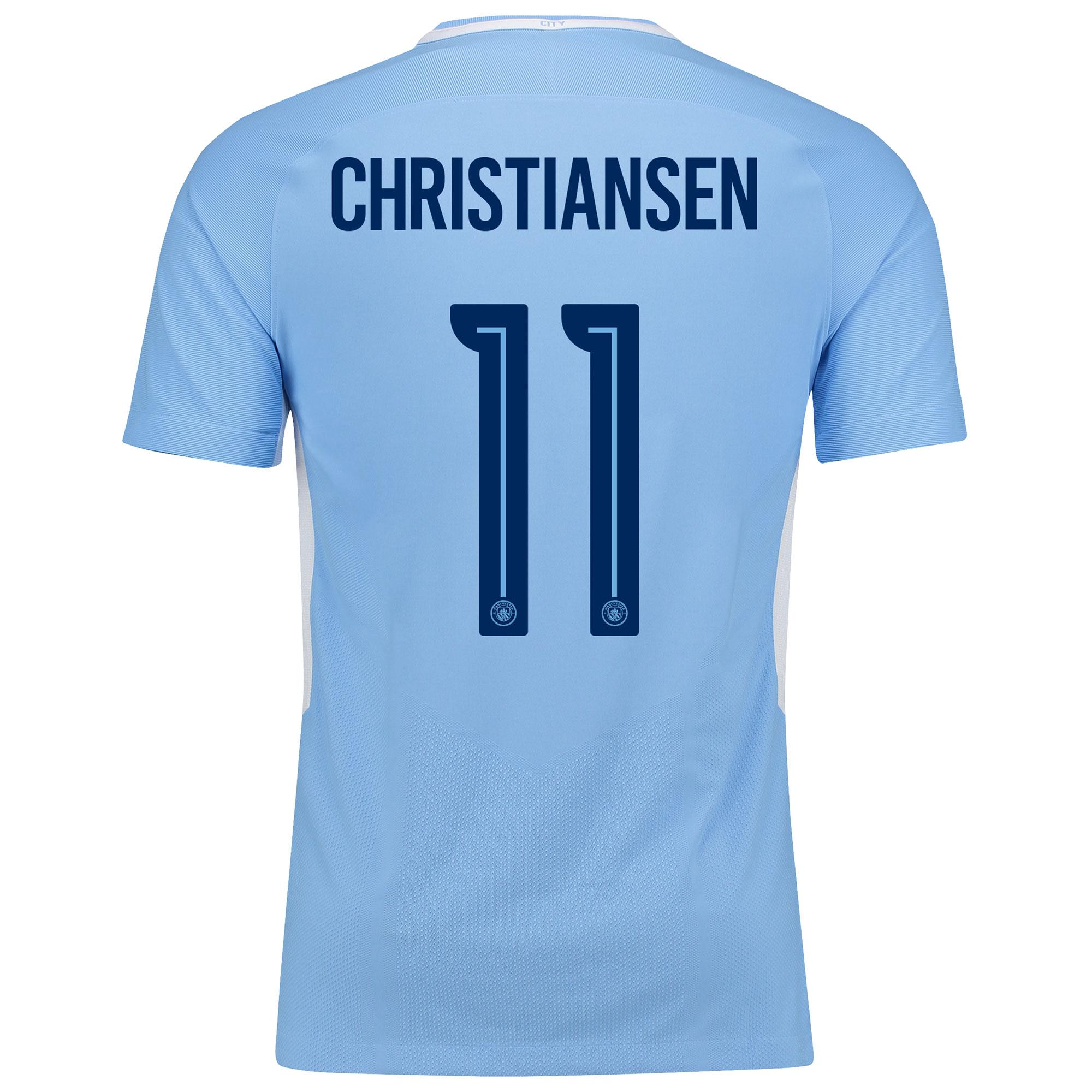 Manchester City Home Vapor Match Cup Shirt 2017-18 with Christiansen 1