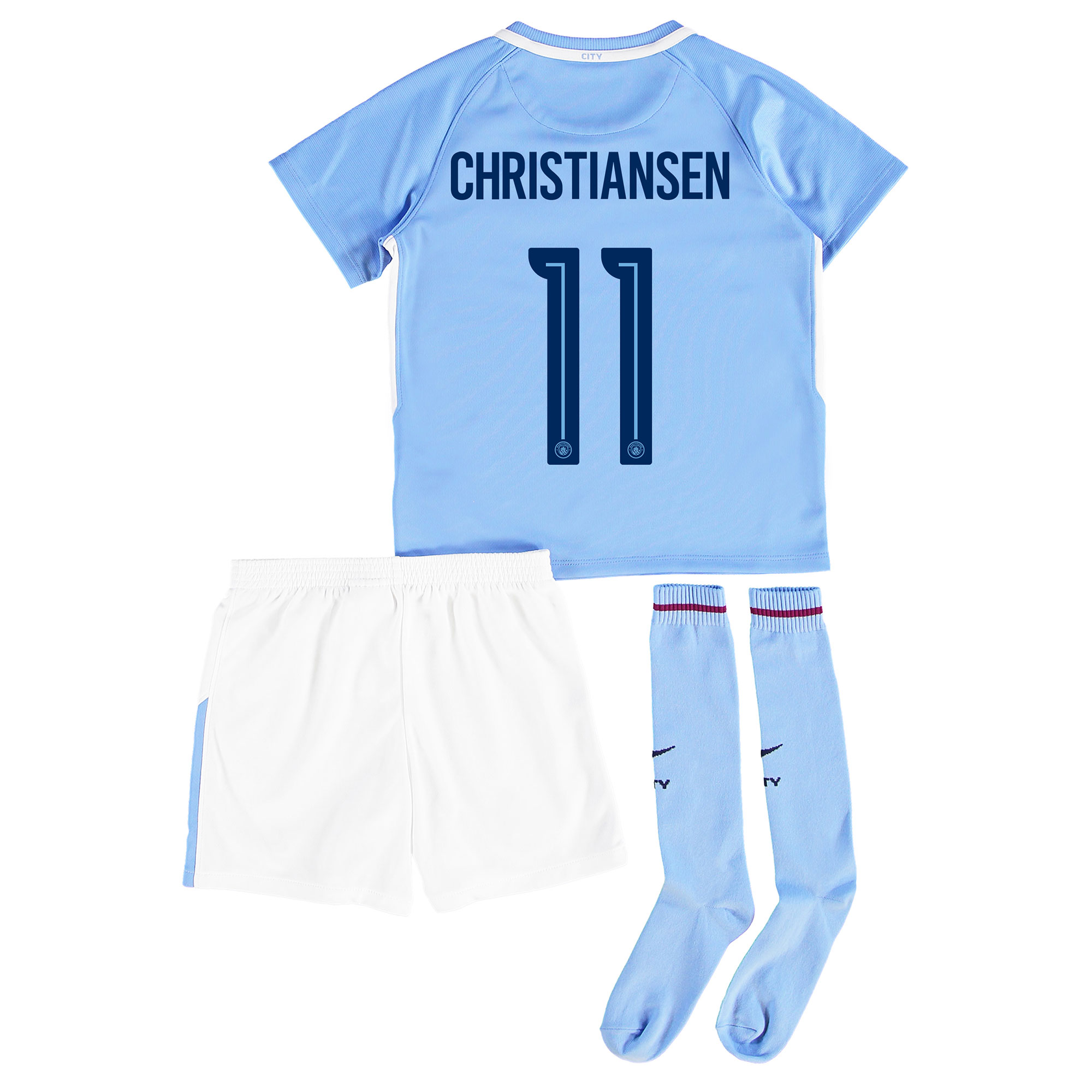 Manchester City Home Stadium Cup Kit 2017-18 - Little Kids with Christ