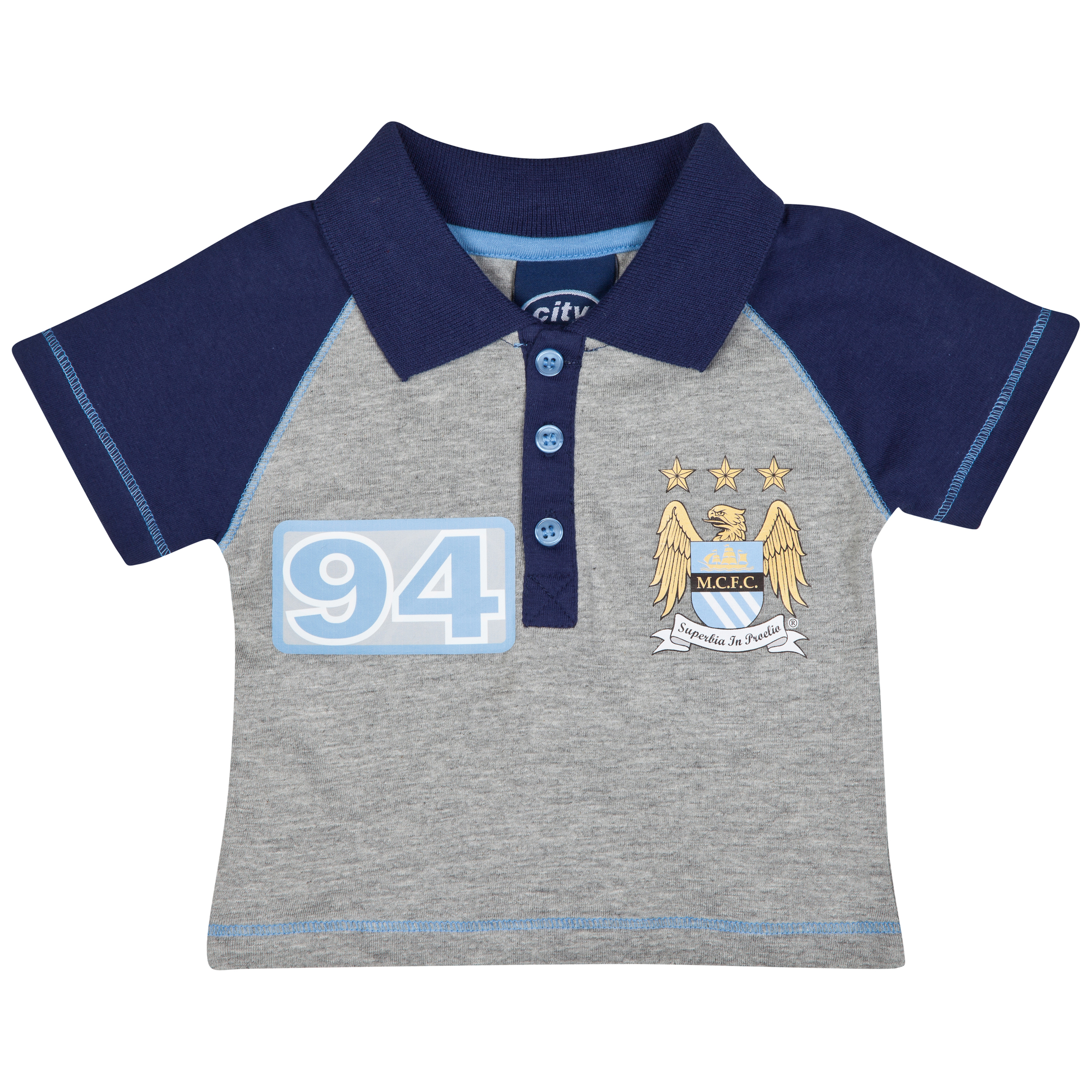 Manchester City Raglan Polo Top - Navy/Sky - Baby