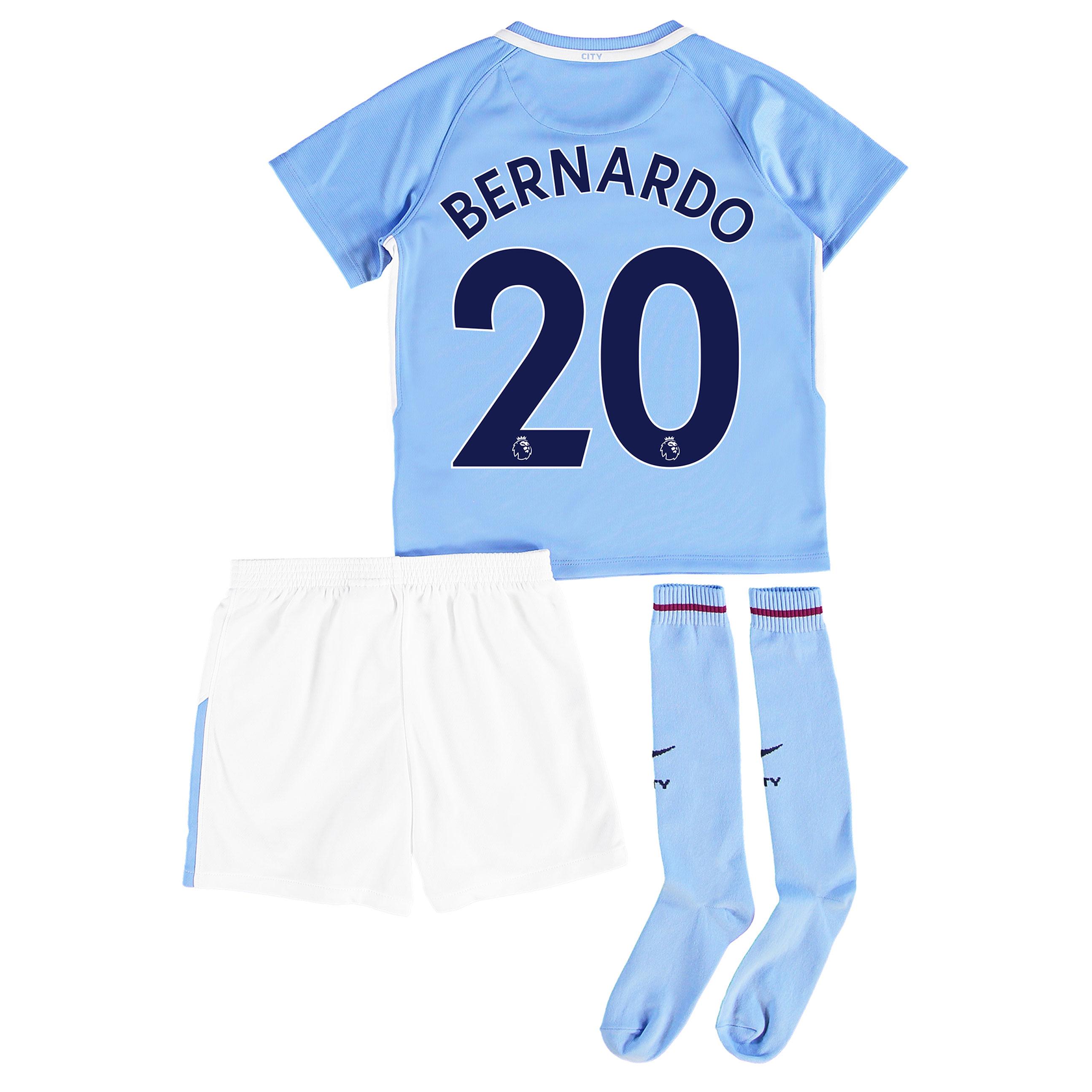 Manchester City Home Stadium Kit 2017-18 - Little Kids with Bernardo 2