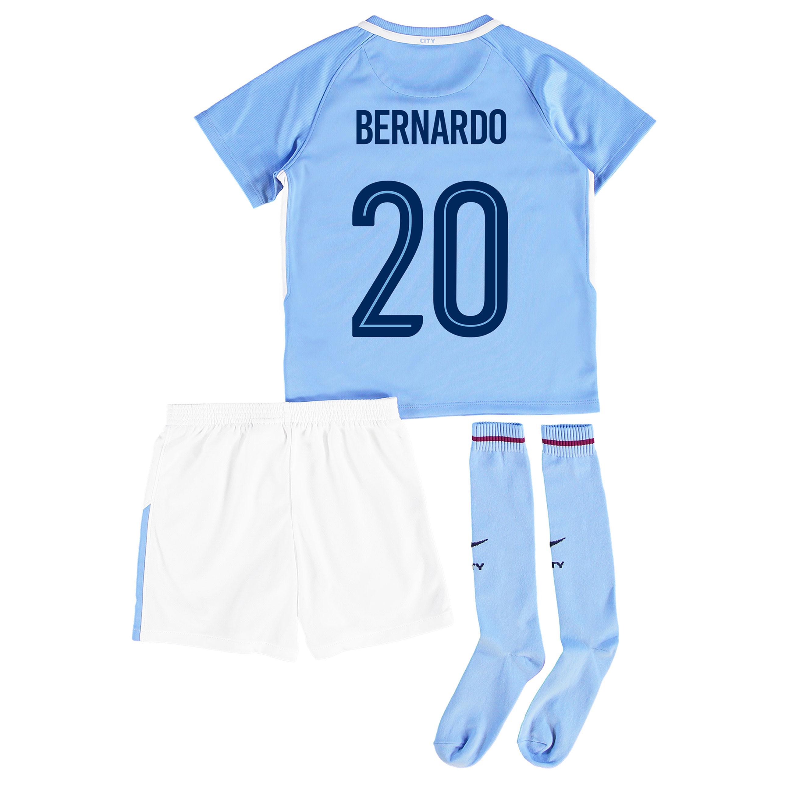 Manchester City Home Stadium Cup Kit 2017-18 - Little Kids with Bernar