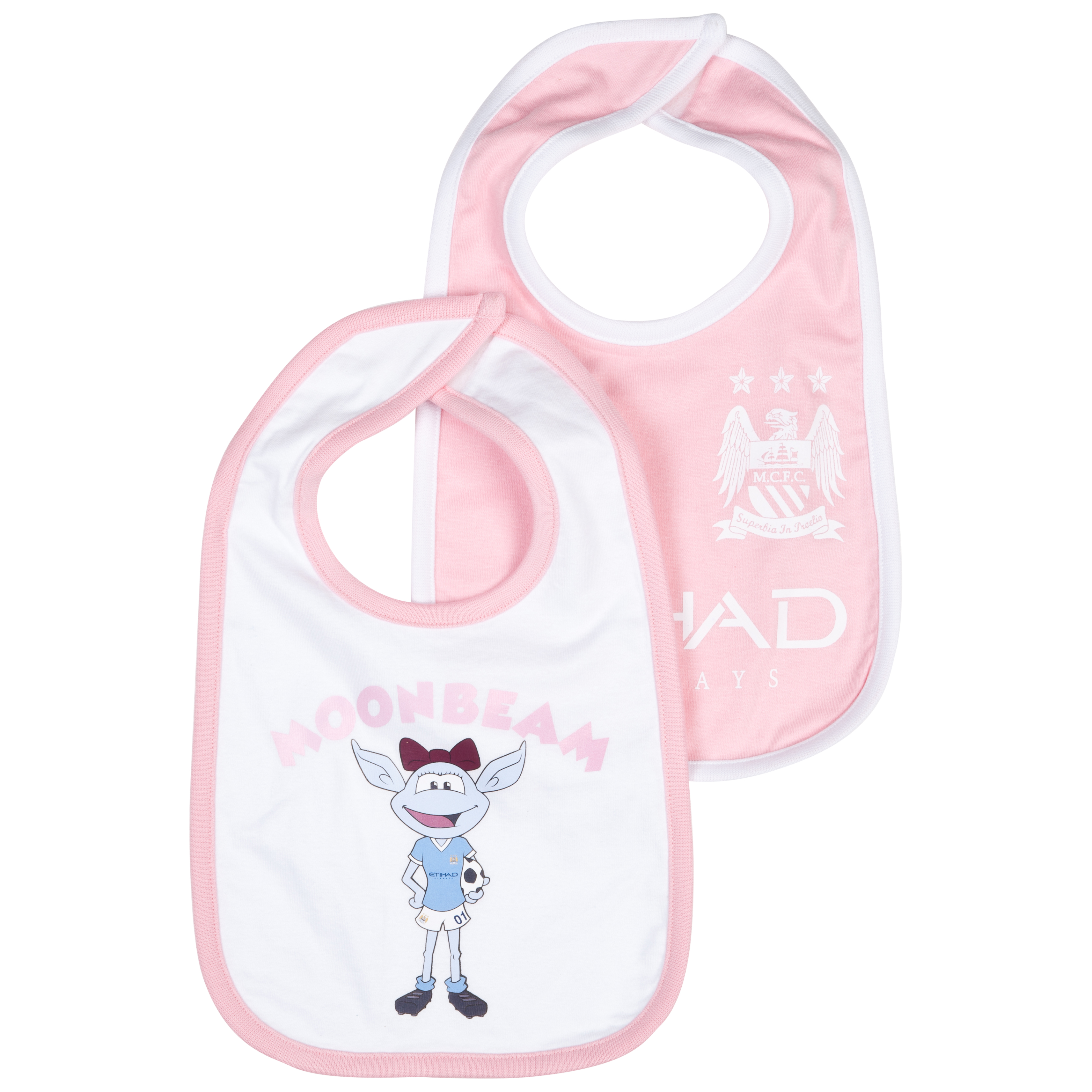 Manchester City Pack of 2 Bibs - Pink - Baby