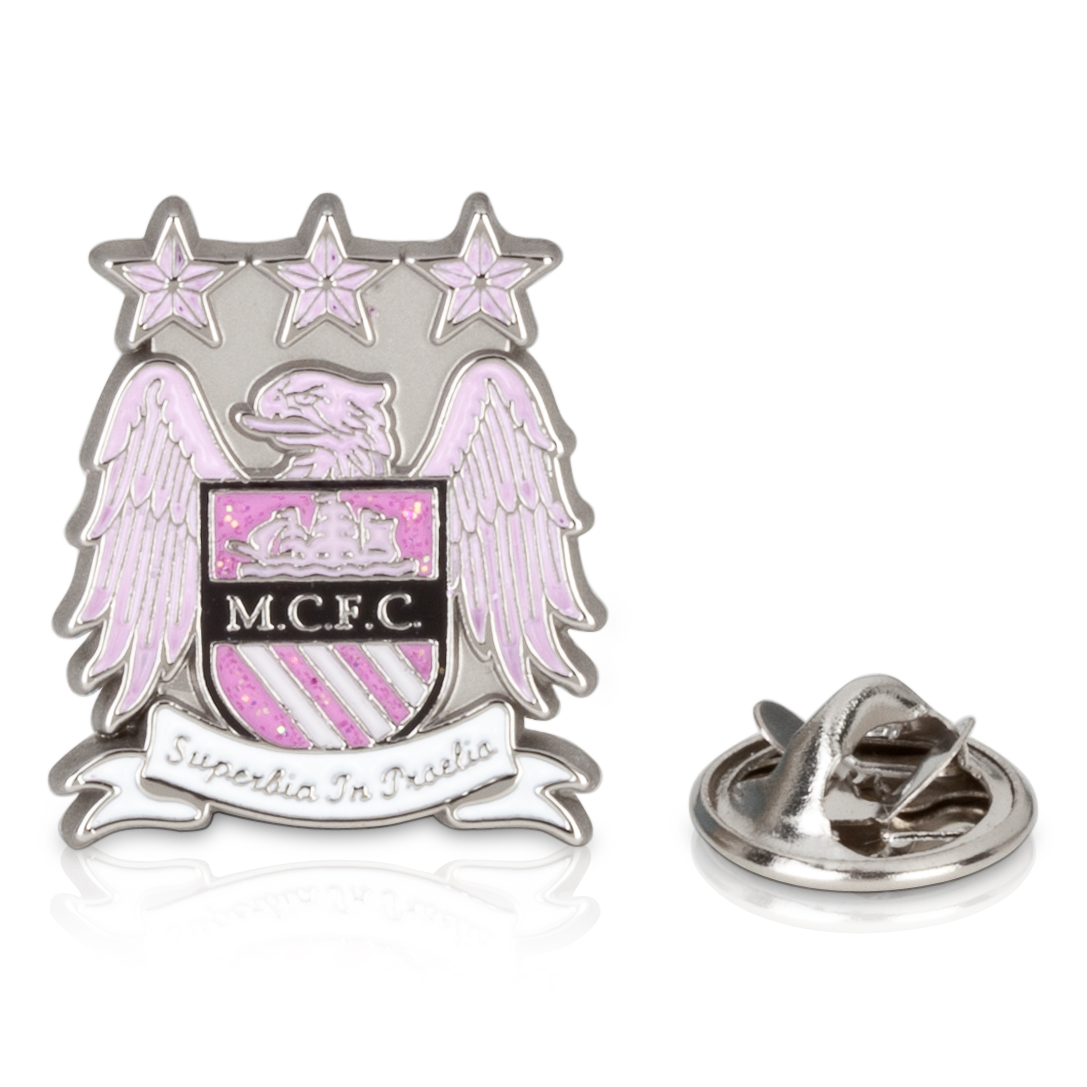 Manchester City Colour Crest Badge - Pink Glitter