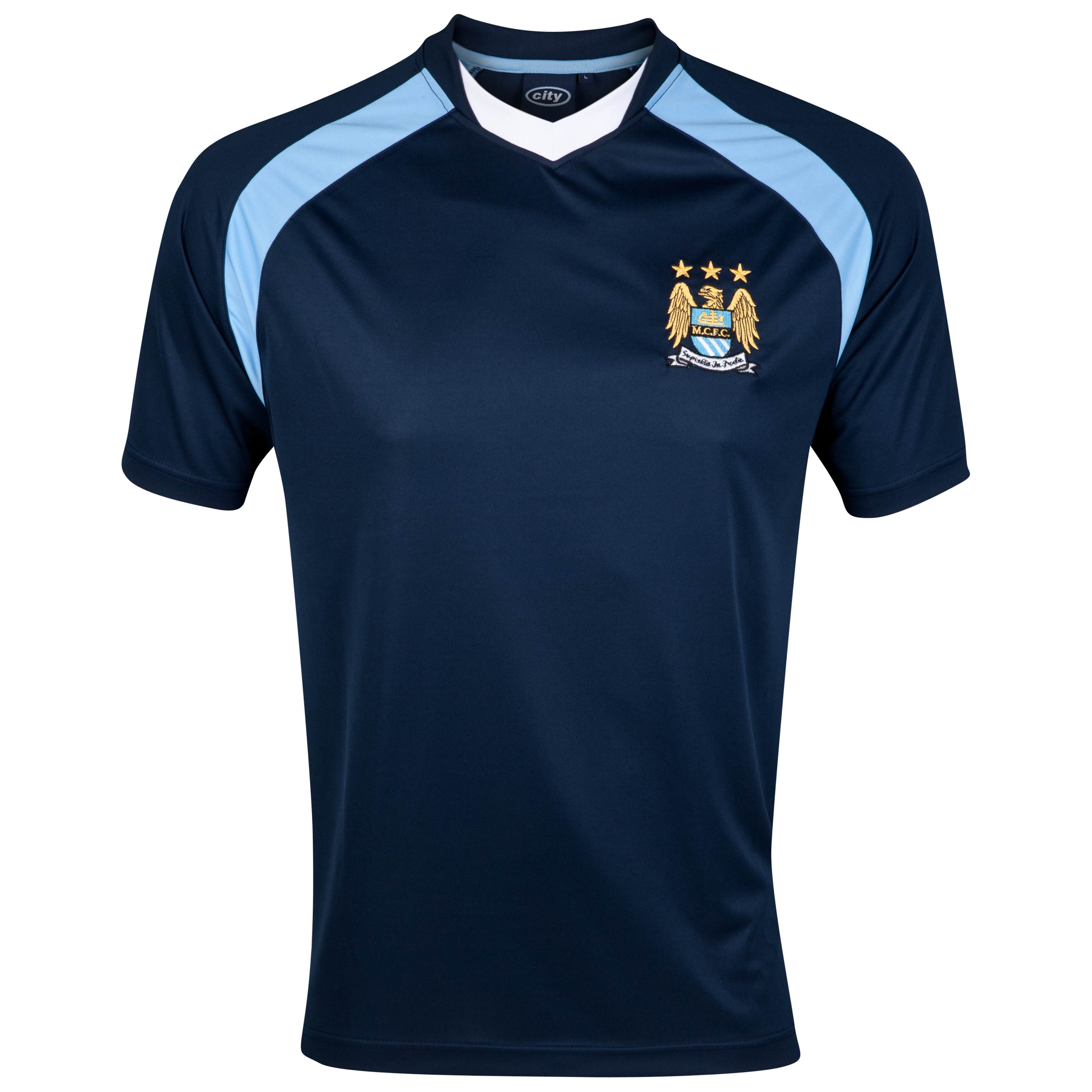 Manchester City Essential Chase V-Neck Panel T-Shirt - Navy