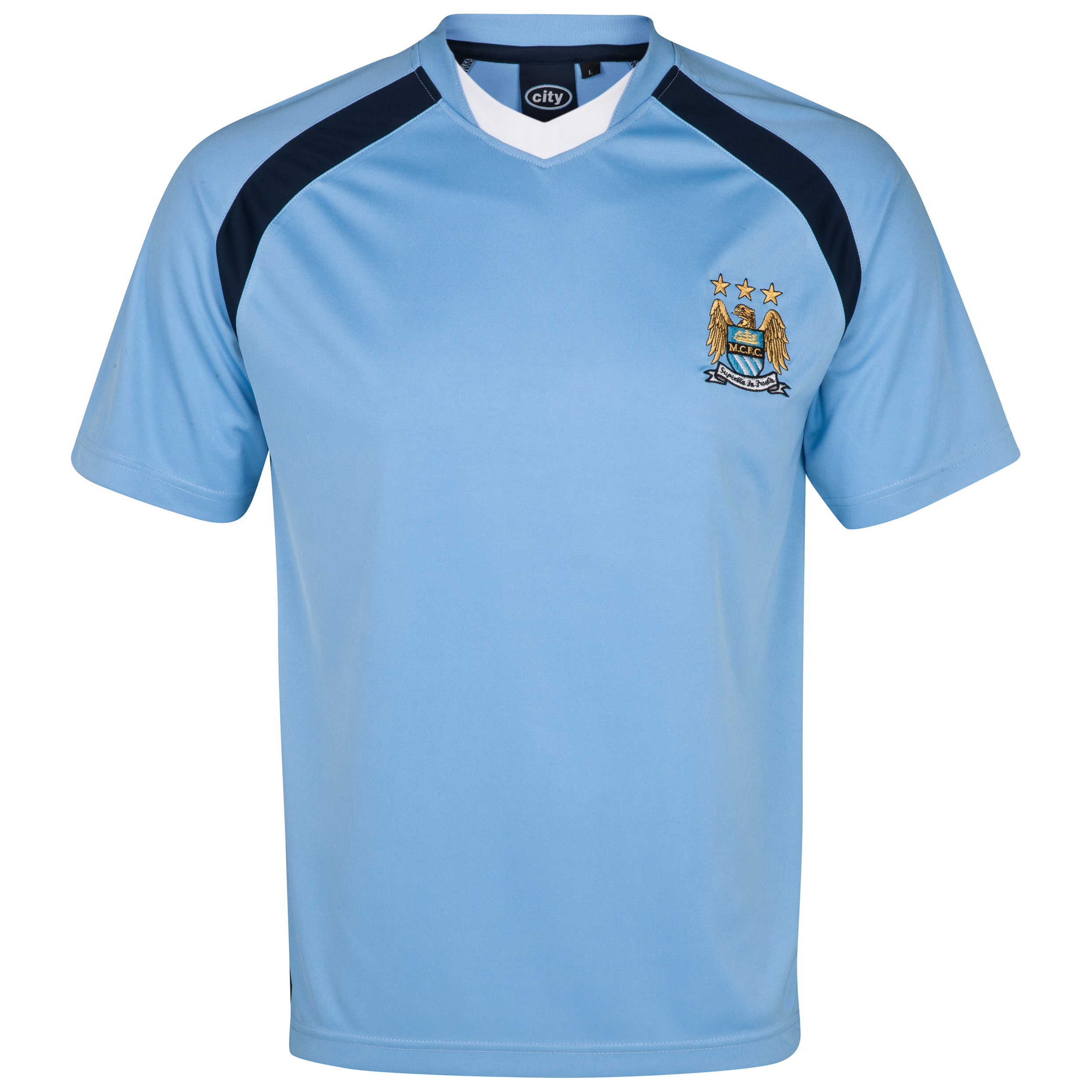 Manchester City Essential Chase V-Neck Panel T-Shirt - Sky