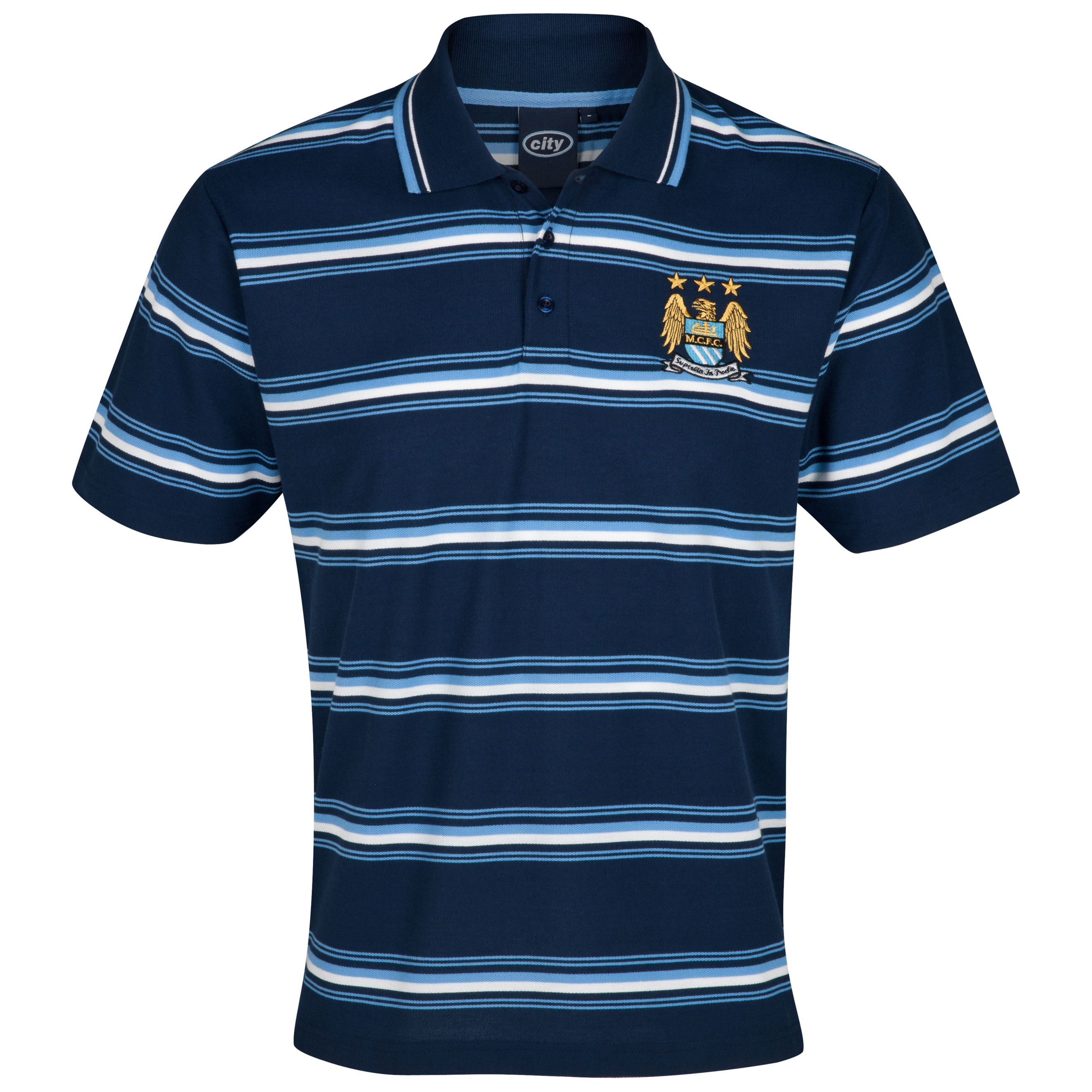 Manchester City Essential Power Stripe Polo Top - Navy